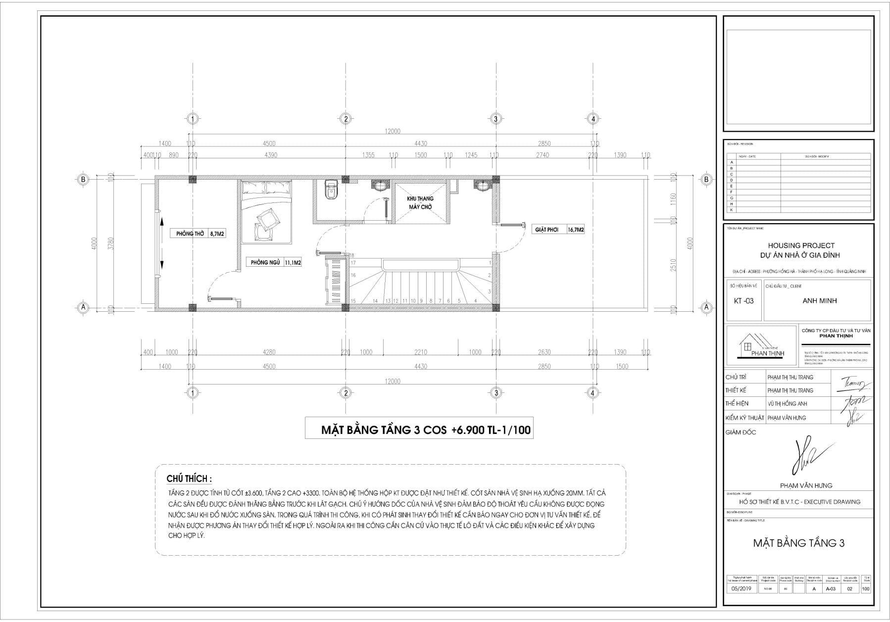 Mặt bằng thiết kế nhà tại tầng 3