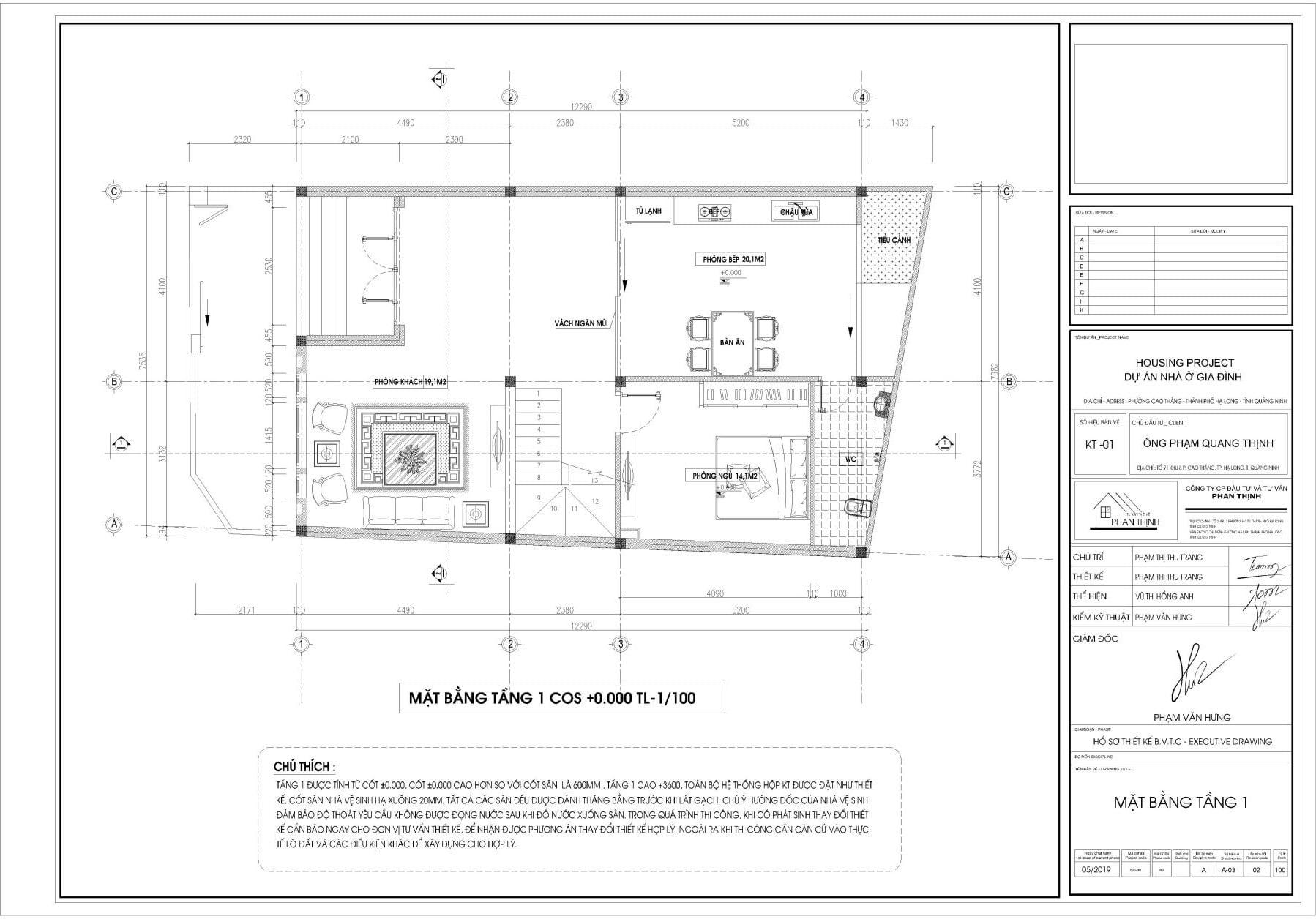 Mặt bằng thiết kế tại tầng 1, ngôi nhà 2 tầng