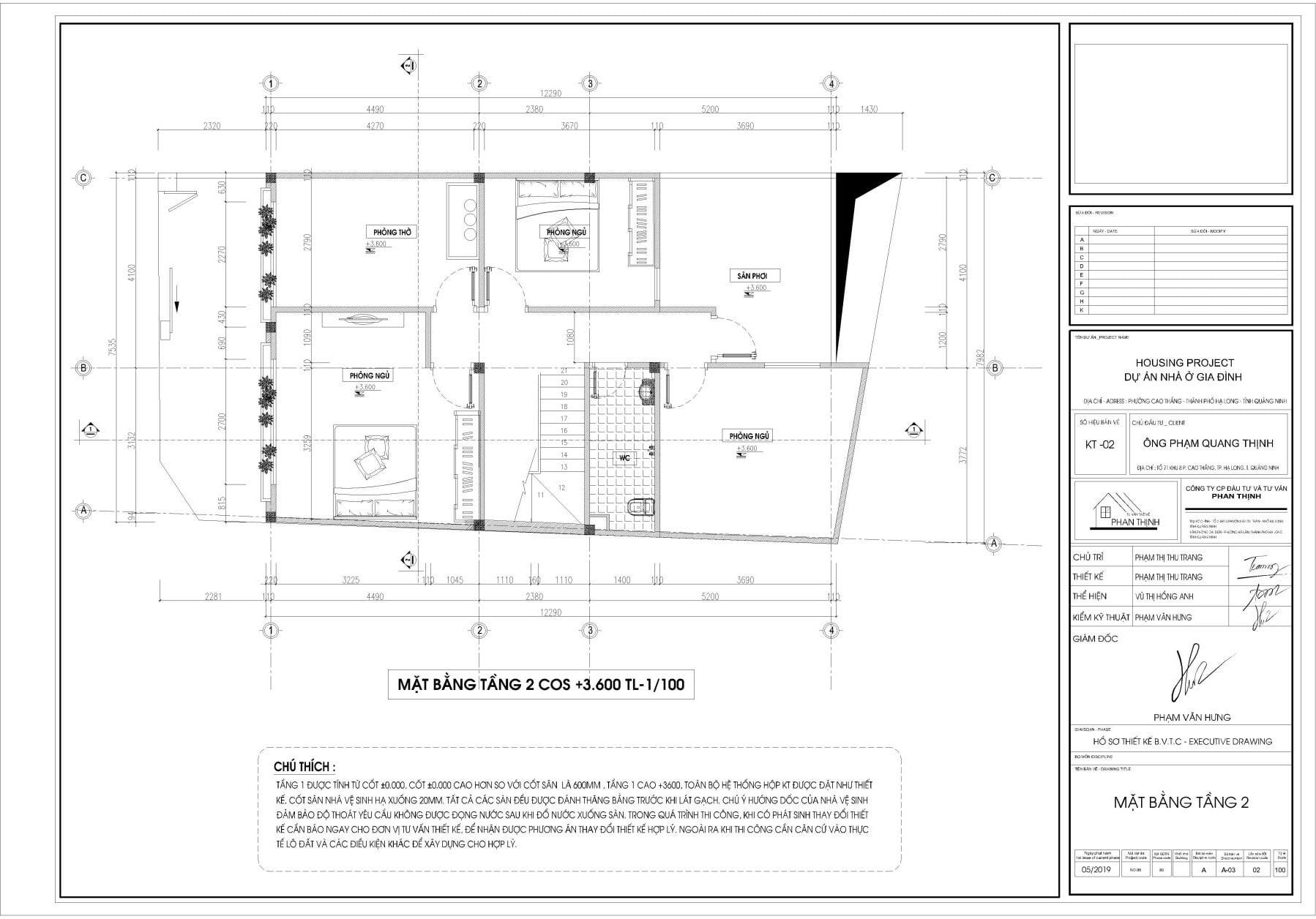 Mặt bằng thiết kế tại tầng 2, thiết kế nhà tại Quảng Ninh