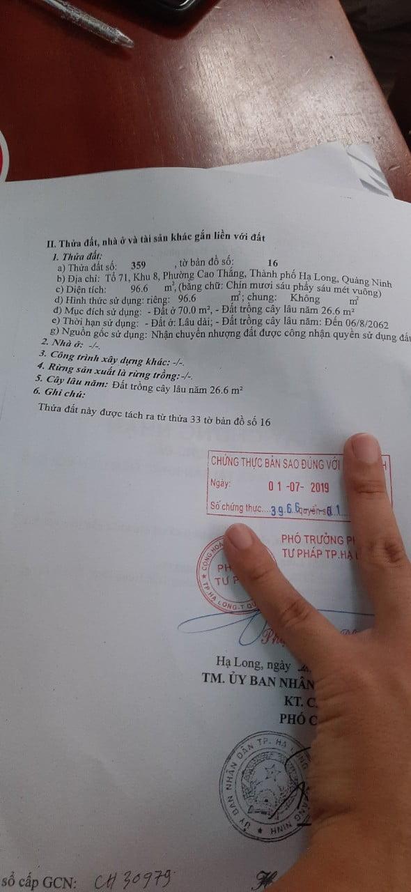 Thông tin thửa đất xây dựng tại phường Hùng Thắng, thành phố Hạ Long, tỉnh Quảng Ninh.