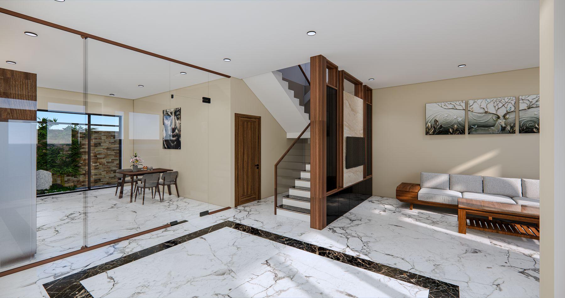 Thiết kế phối cảnh nội thất căn nhà, nhìn từ cửa chính.