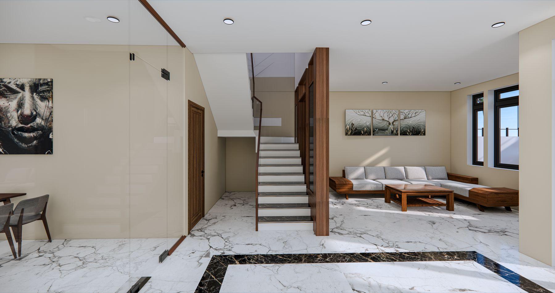 Thiết kế phối cảnh nội thất căn nhà mái thái, khu vực cầu thang và phòng khách