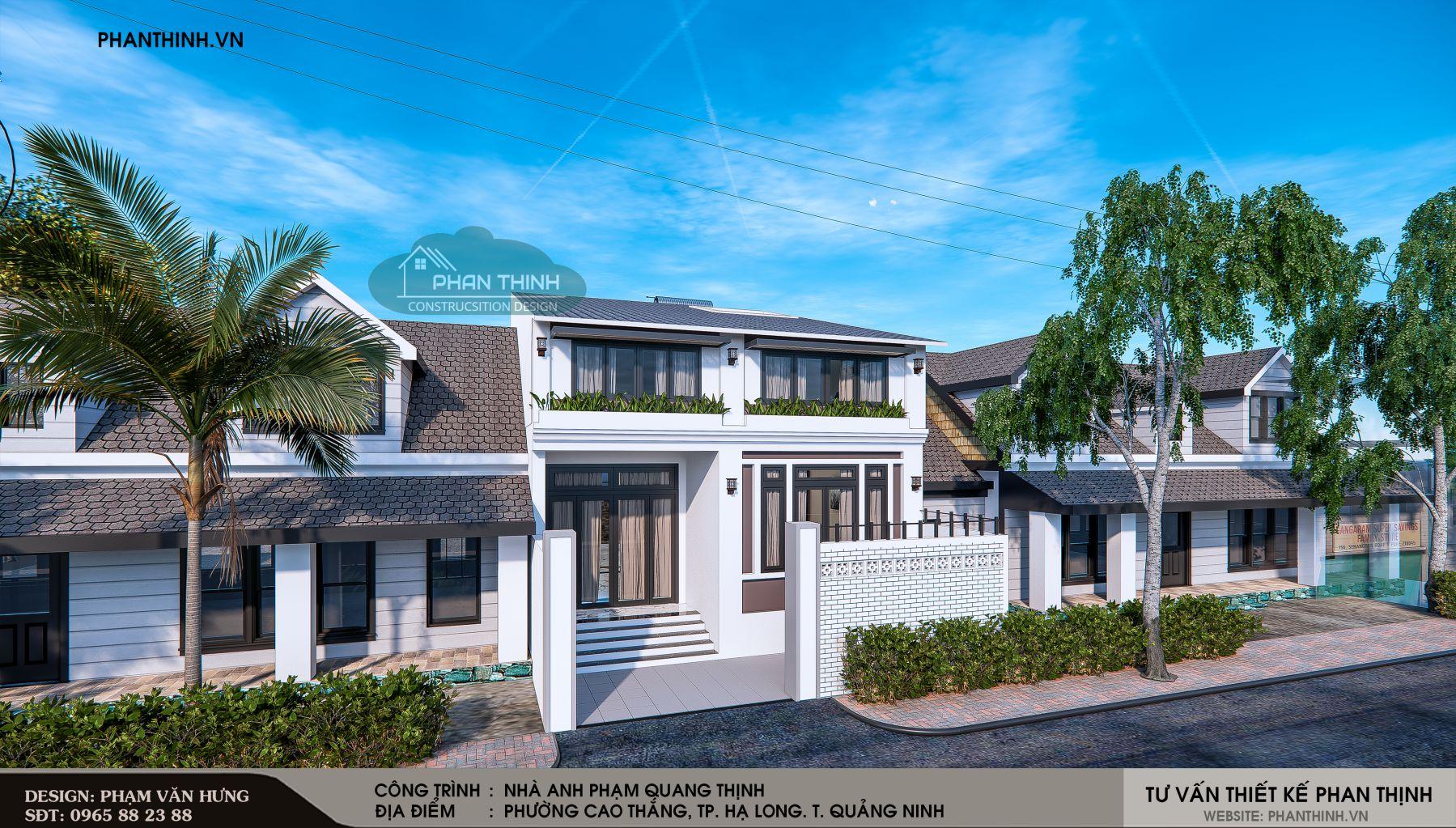 Thiết kế phối cảnh căn nhà 2 tầng mái thái tại Quảng Ninh