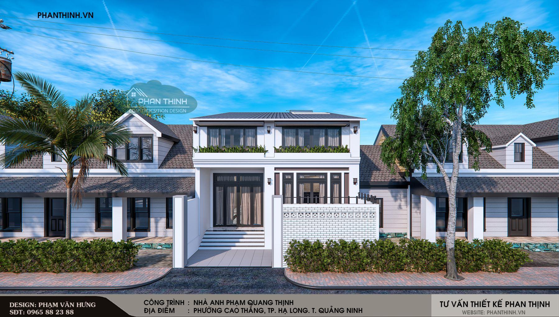 Thiết kế mặt tiền căn nhà 2 tầng mái thái tại Quảng Ninh