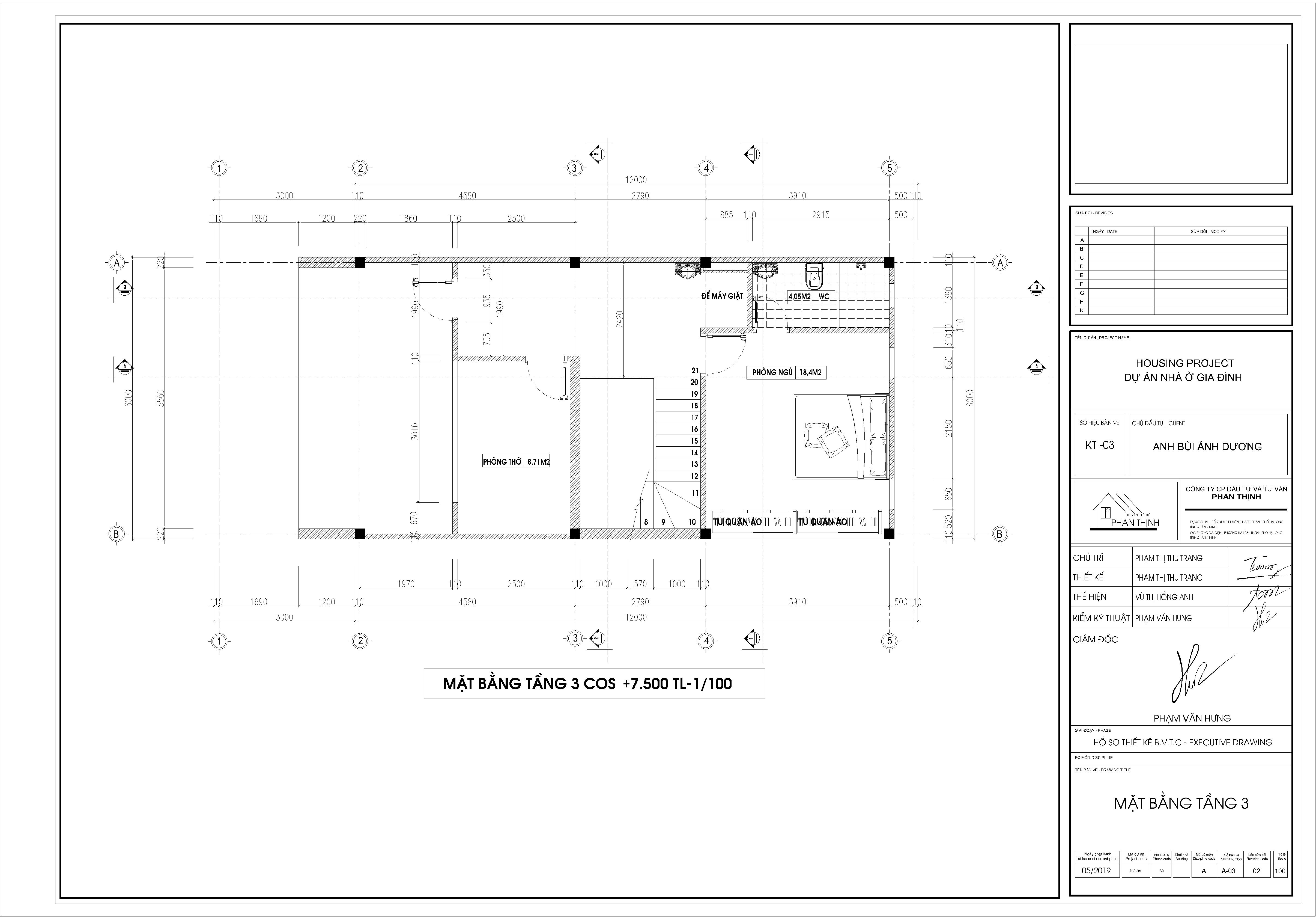Thiết kế xây dựng nhà tại tầng 3.