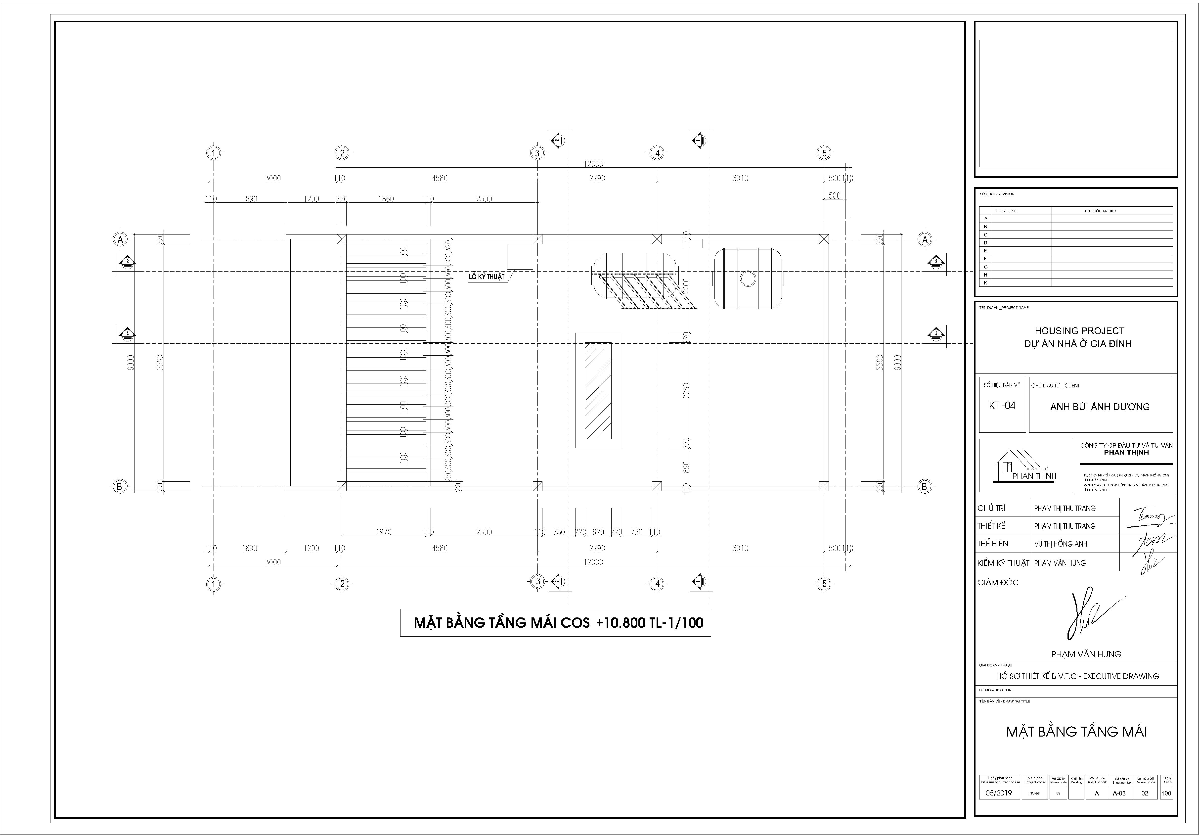 Thiết kế xây dựng nhà tại tầng mái.