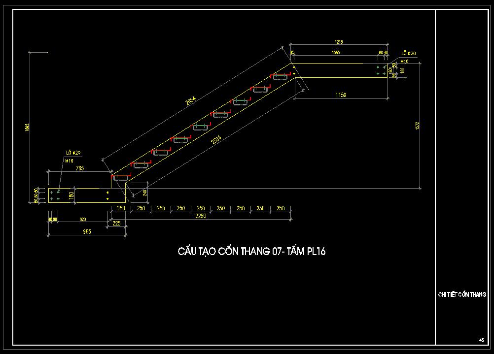 Cấu tạo cốn thang bản vẽ thang sắt autocad