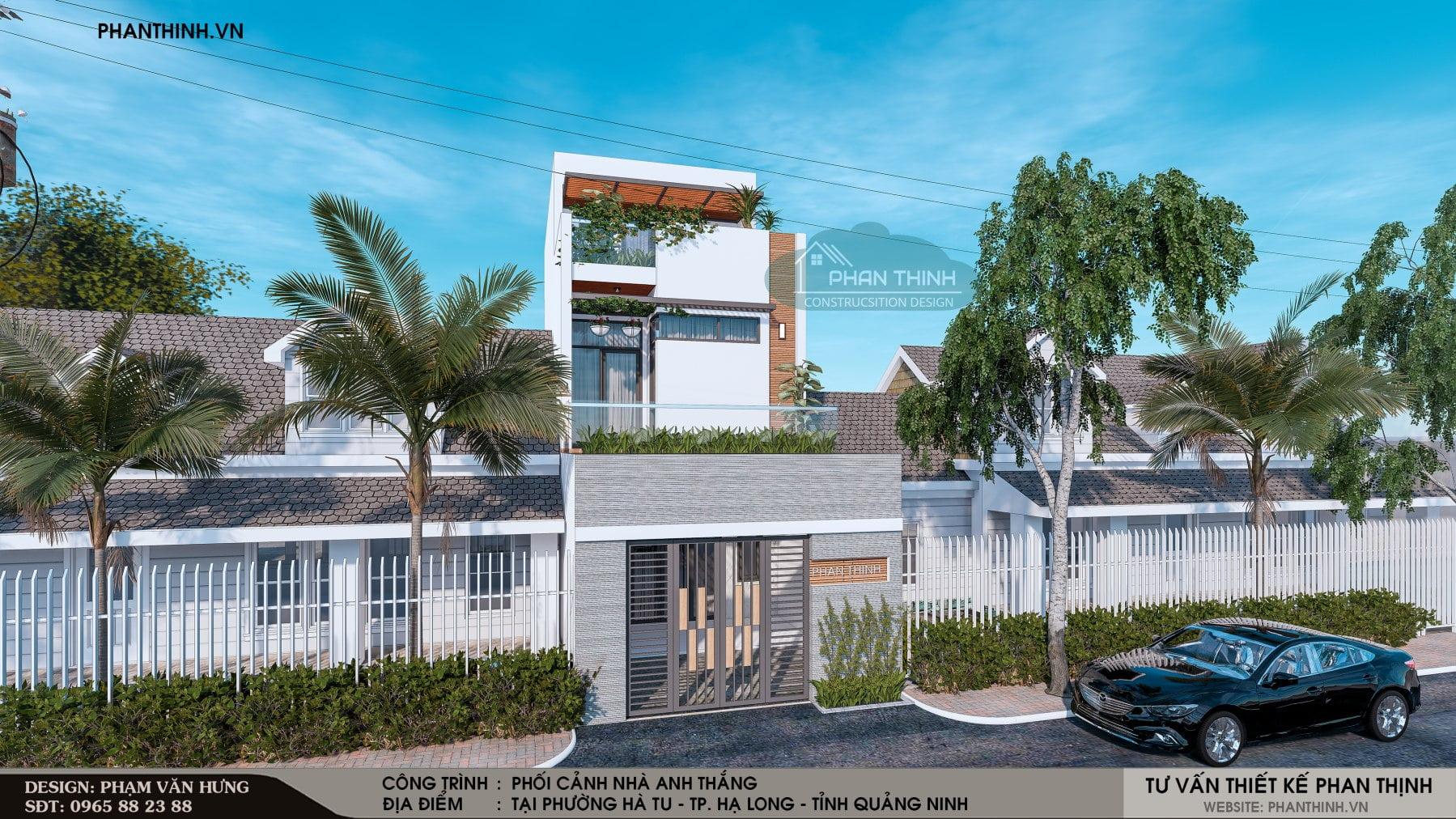 Thiết kế mặt tiền căn nhà phố 2 tầng 1 tum đẹp tại Quảng Ninh