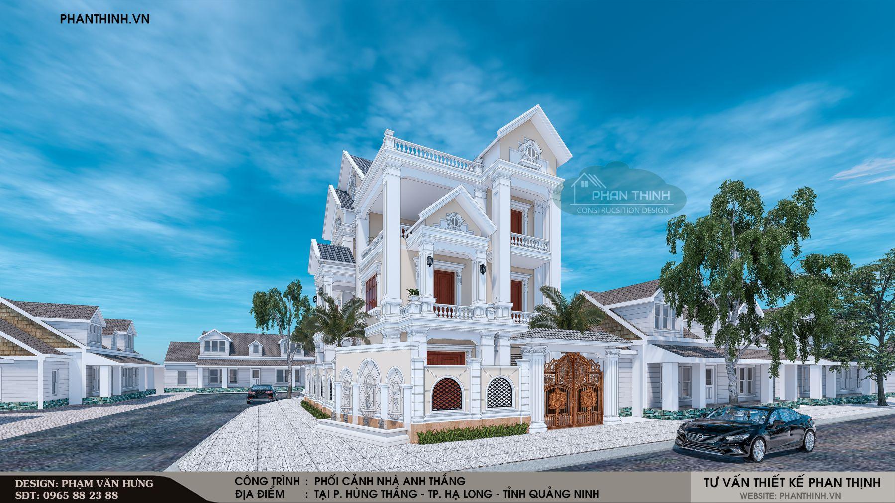 Mặt tiền nhà biệt thự 3 tầng tân cổ điển đẹp năm 2019 tại Quảng Ninh