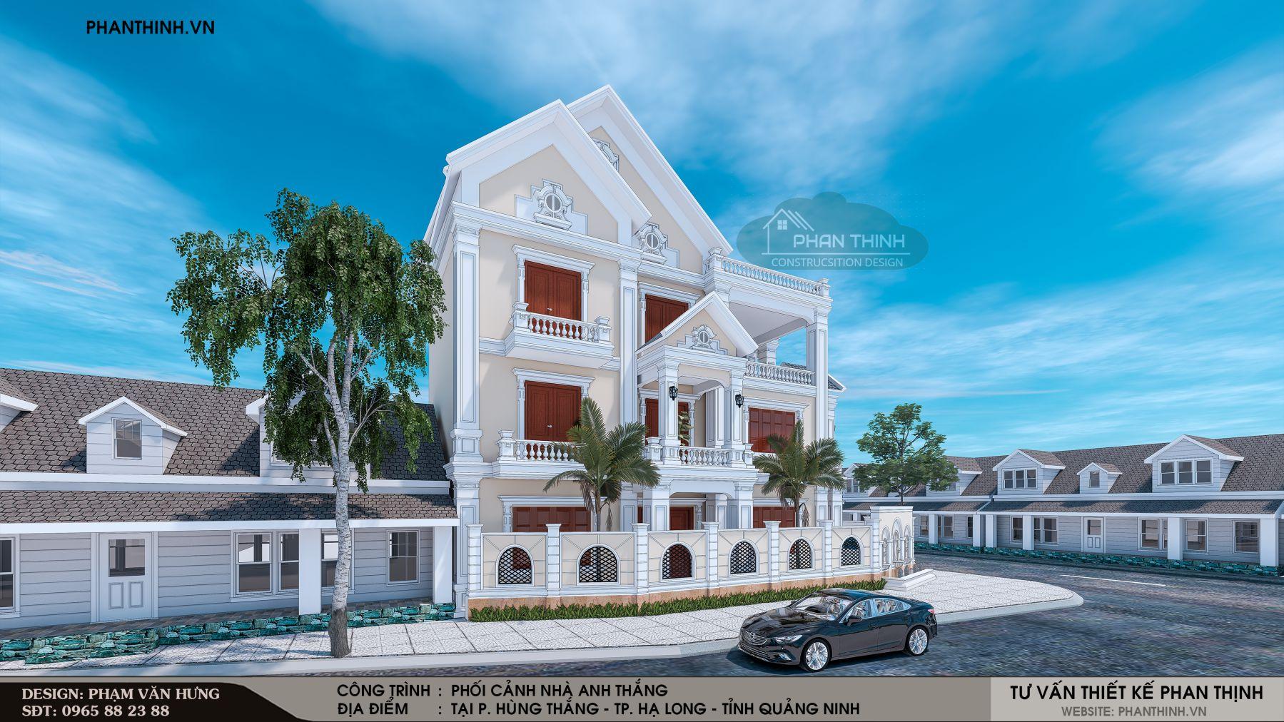 Phối cảnh mặt tiền thiết kế nhà 3 tầng tân cổ điển tại Quảng Ninh