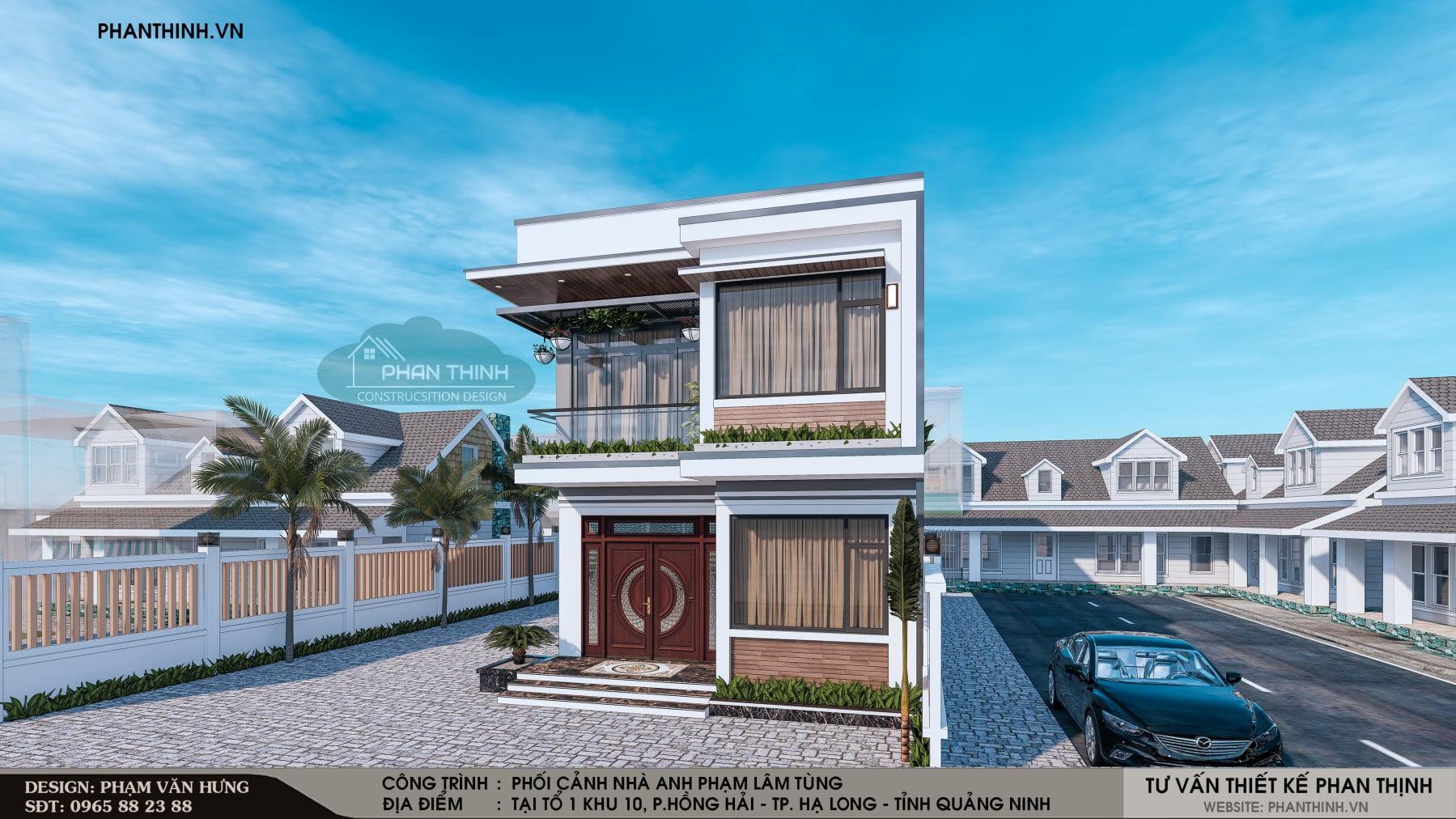 Thiết kế mặt tiền của căn nhà phố 2 tầng 2 mặt tiền hiện đại tại Quảng Ninh