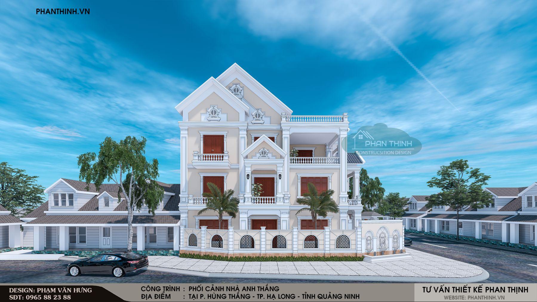 Thiết kế nhà biệt thự 3 tầng tân cổ điển đẹp tại Quảng Ninh