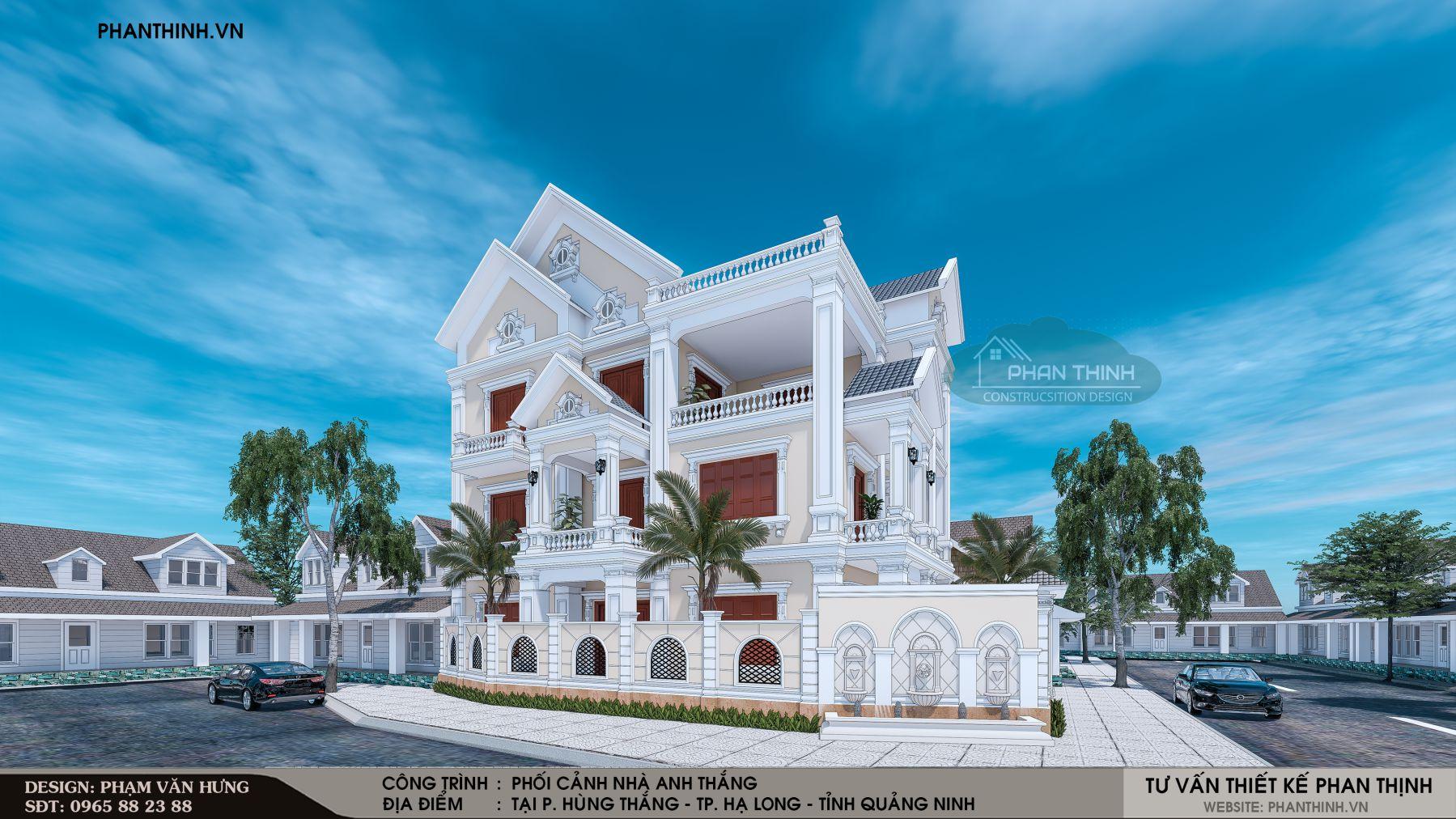 Phối cảnh góc căn nhà biệt thự 3 tầng đẹp năm 2019 tại Quảng Ninh