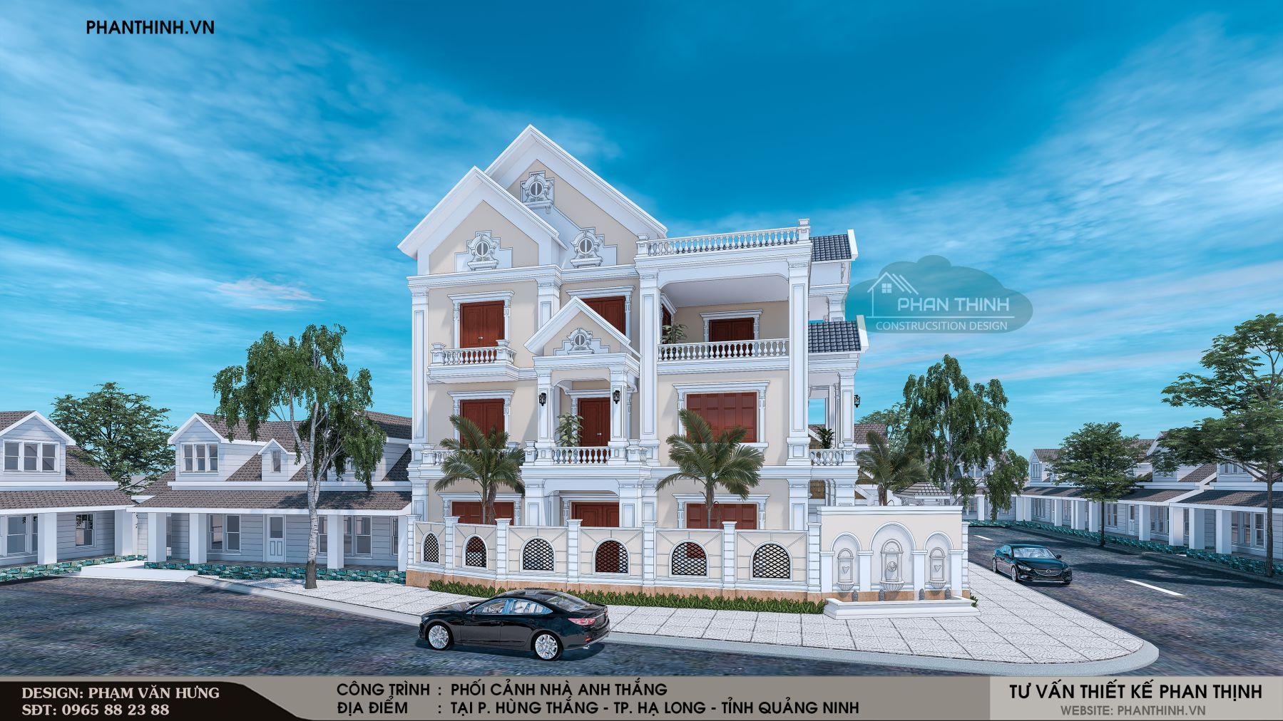 Mẫu nhà biệt thự 3 tầng tân cổ điển tại Quảng Ninh