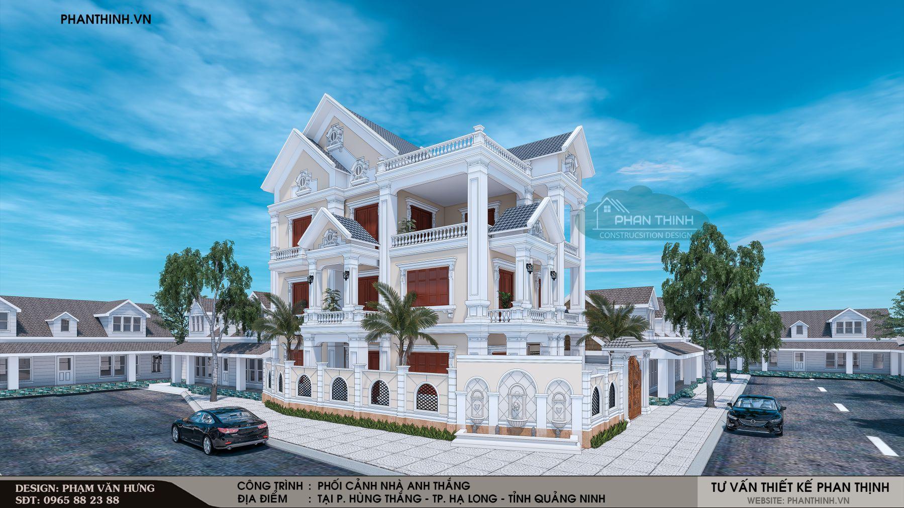 Nhà biệt thự 3 tầng mang kiến trúc tân cổ điển tại Quảng Ninh