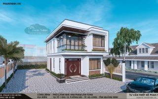 Thiết kế nhà 2 tầng 2 mặt tiền hiện đại 6,8x12m tại Hồng Hà, Quảng Ninh