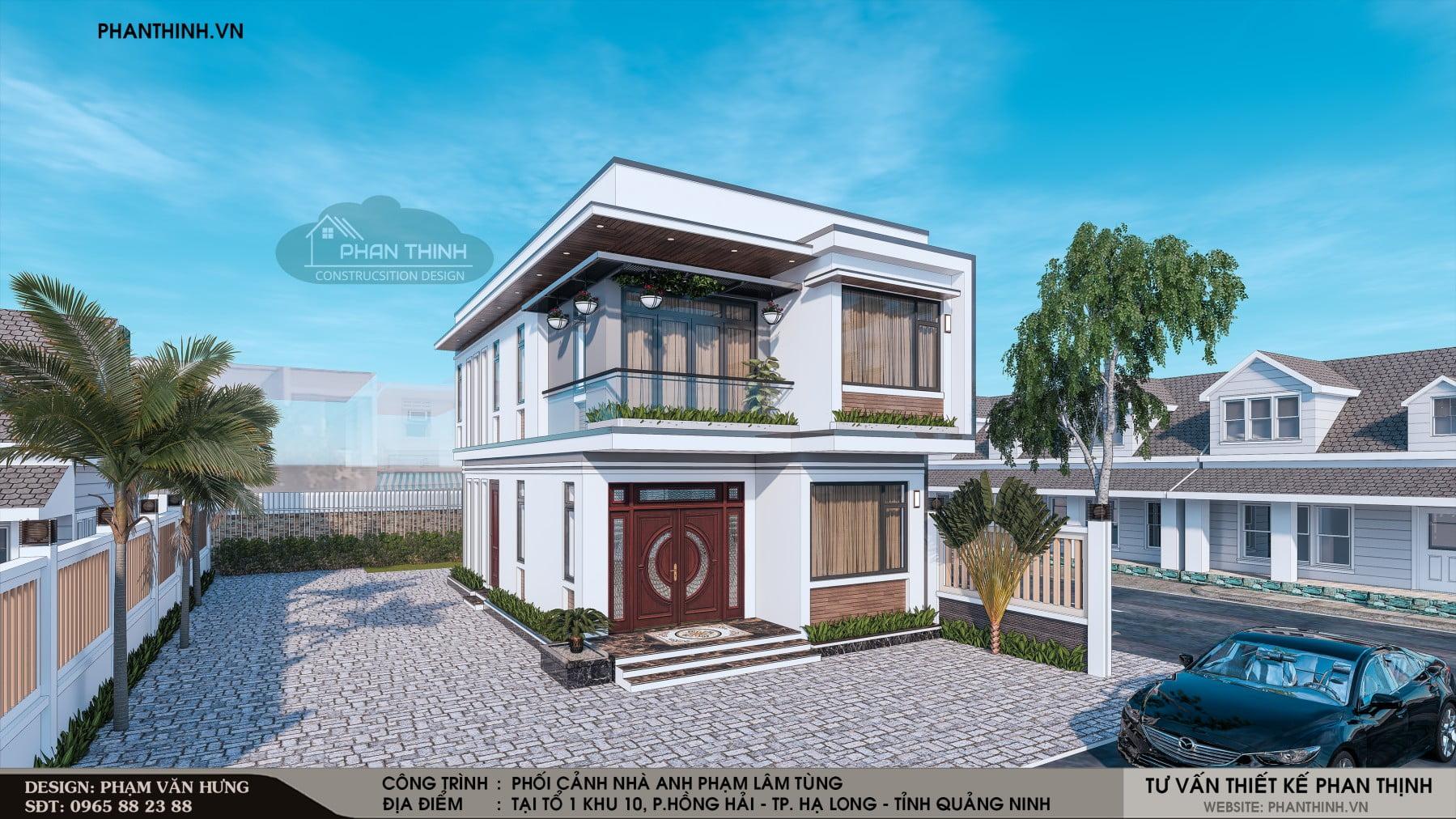Thiết kế mặt tiền căn nhà ống 2 tầng hiện đại
