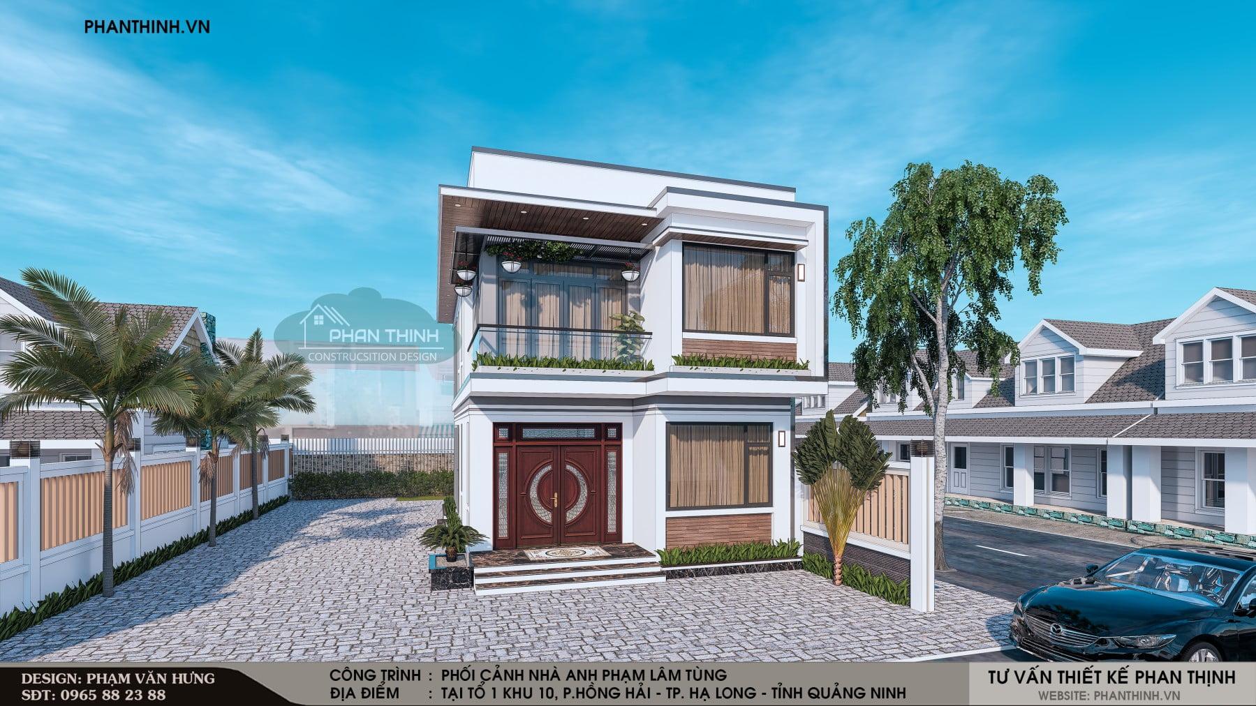 Phối cảnh căn nhà ống 2 tầng tại phường Hồng Hải thành phố Hạ Long tỉnh Quảng Ninh