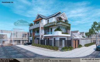 Thiết kế nhà 3 tầng 2 mặt tiền hiện đại mái thái tại phường Hùng Thắng