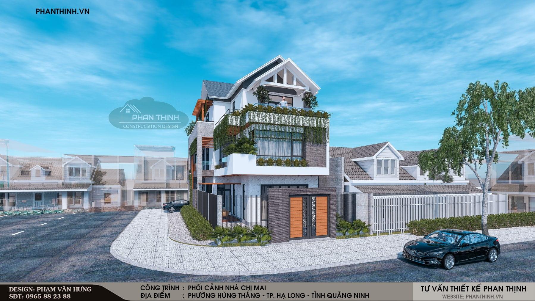 Thiết kế nhà phố 2 tầng 2 mặt tiền đẹp tại Quảng Ninh