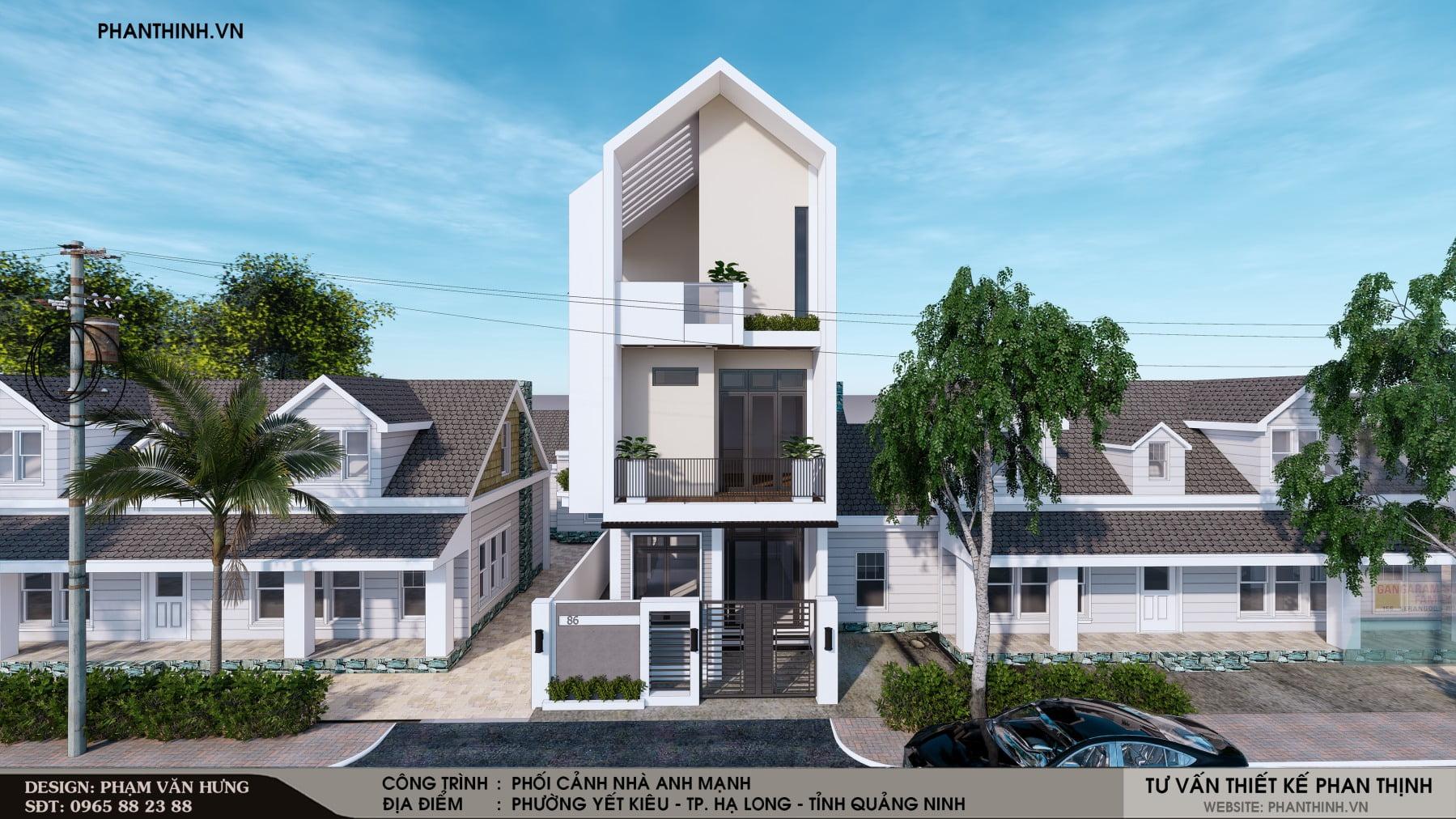 Mẫu thiết kế phối cảnh nhà ống hiện đại 3 tầng tại Quảng Ninh