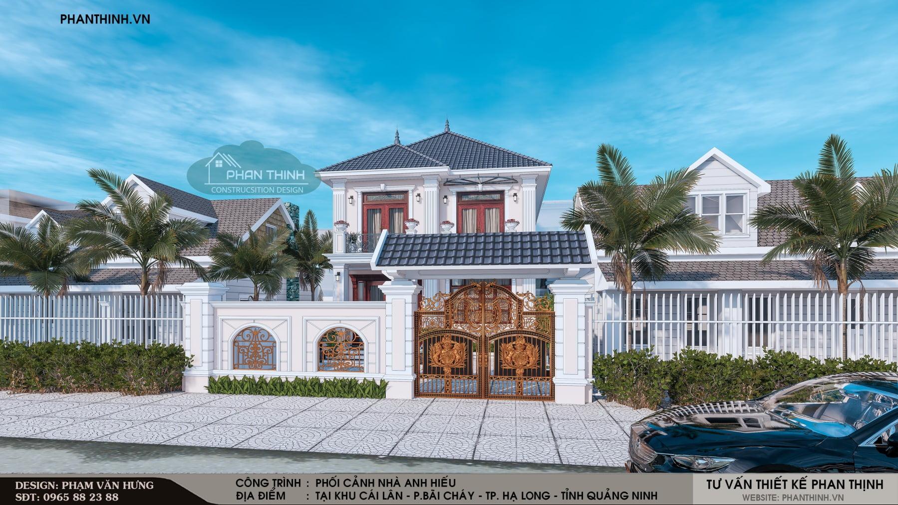 Thiết kế phối cảnh mặt tiền nhà 2 tầng tân cổ điển tại phường Bãi Cháy, tỉnh Quảng Ninh