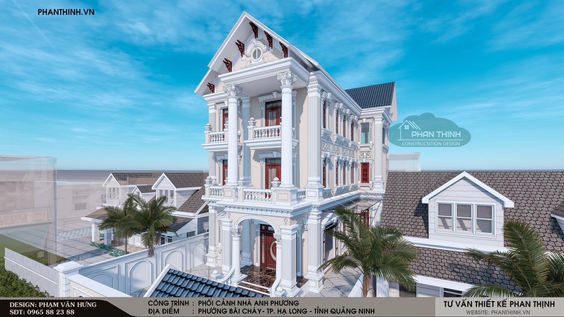 Thiết kế phối cảnh mặt tiền căn biệt thự 3 tầng phong cách châu âu
