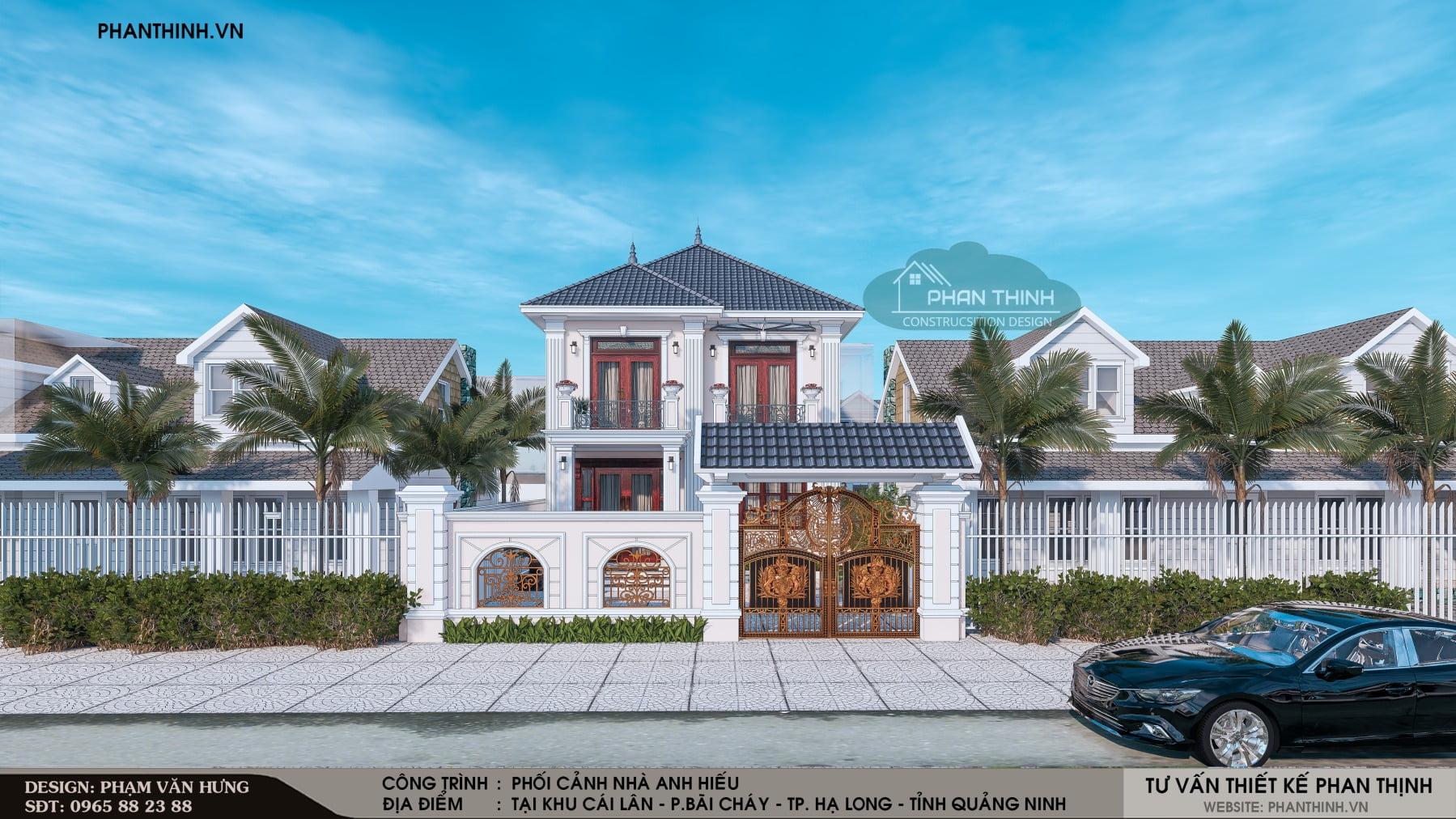 Thiết kế xây dựng nhà biệt thự 2 tầng mang phong cách tân cổ điển tại Quảng Ninh