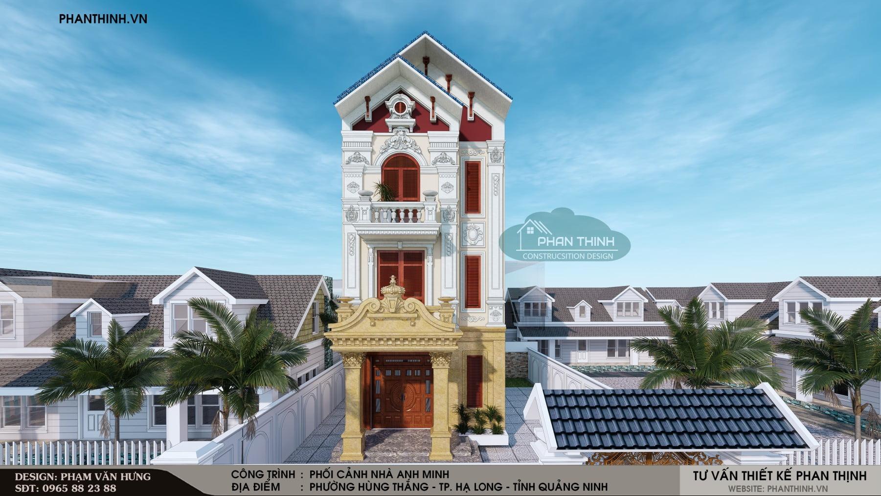 Mẫu mặt tiền biệt thự cổ điển 3 tầng đẹp tại Quảng Ninh