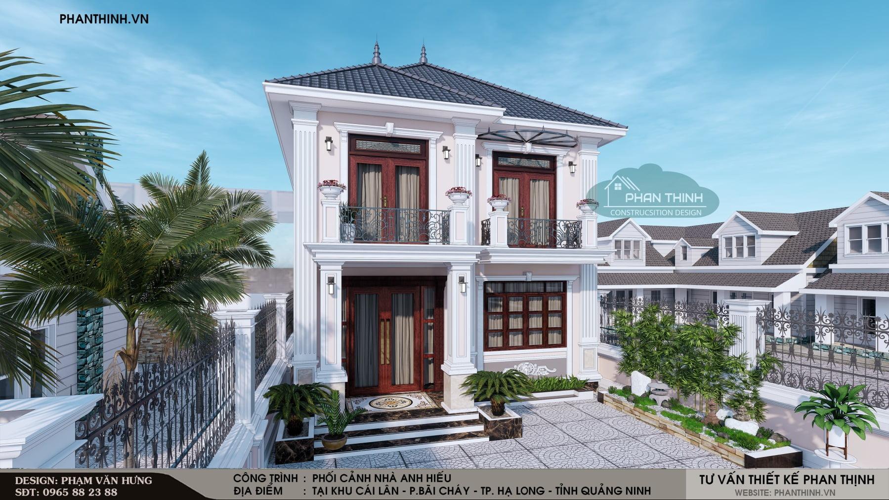 Thiết kế xây dựng biệt thự 2 tầng mái thái tân cổ điển tại Quảng Ninh