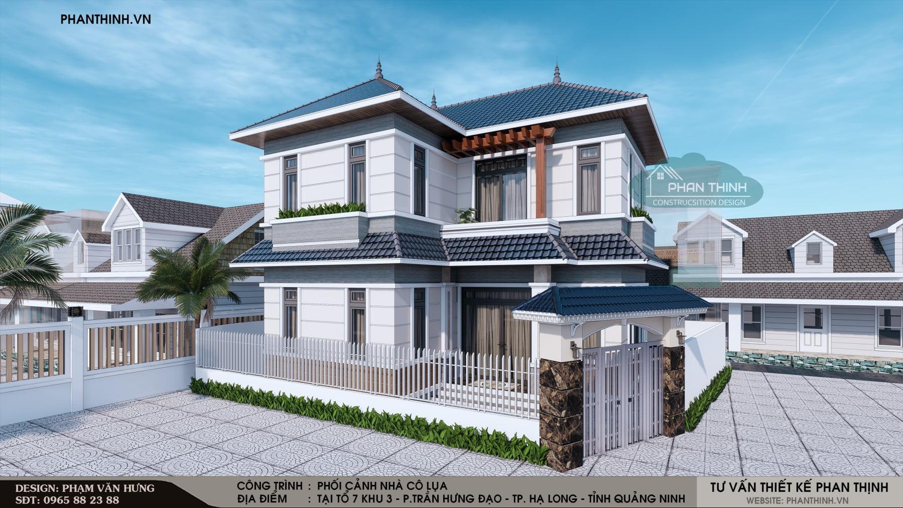 Phương án 1: Thiết kế phối cảnh nhà cô Lụa 2 tầng mái thái tại Quảng Ninh