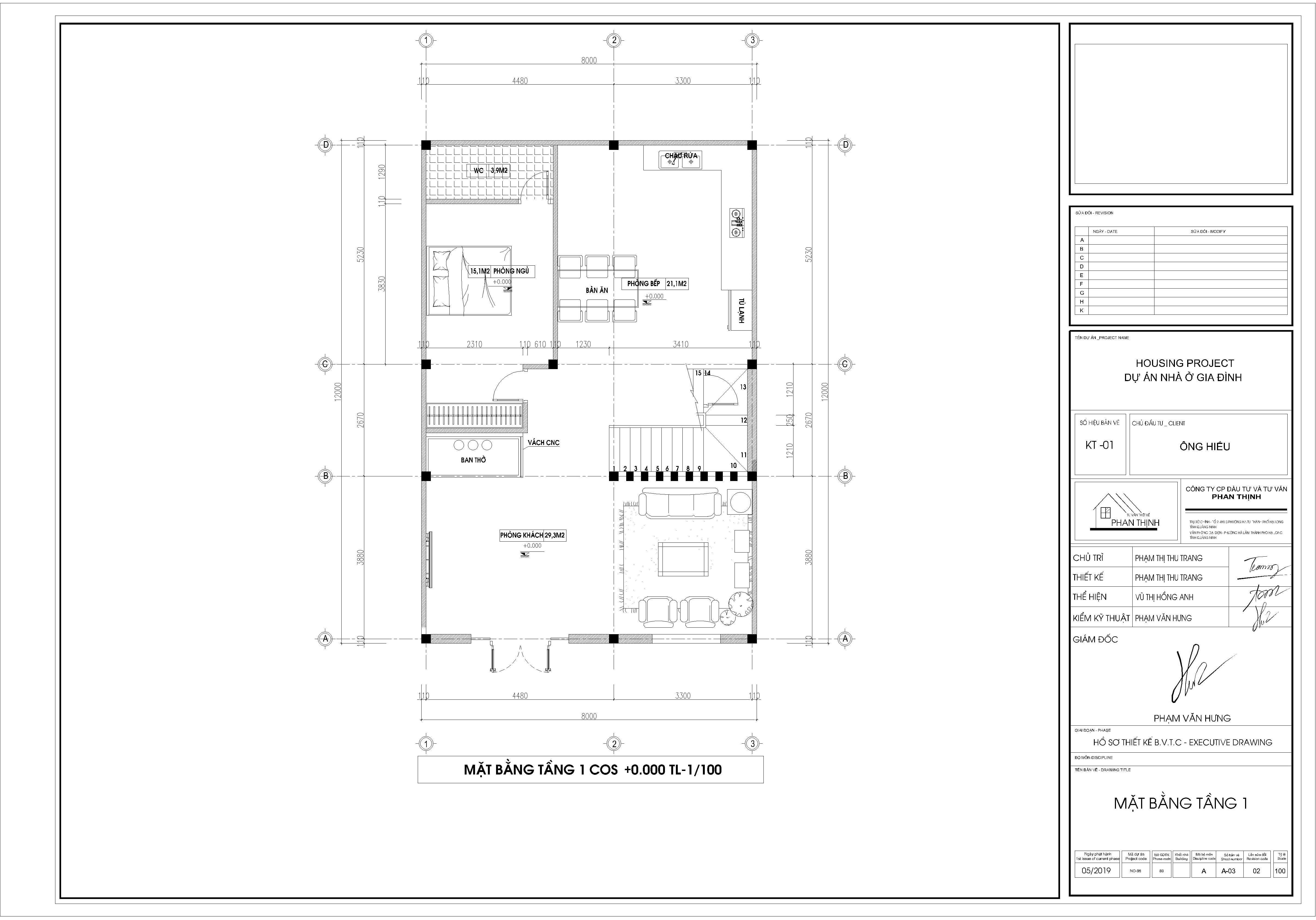 Mặt bằng thiết kế tầng 1 căn biệt thự 2 tầng tân cổ điển Quảng Ninh