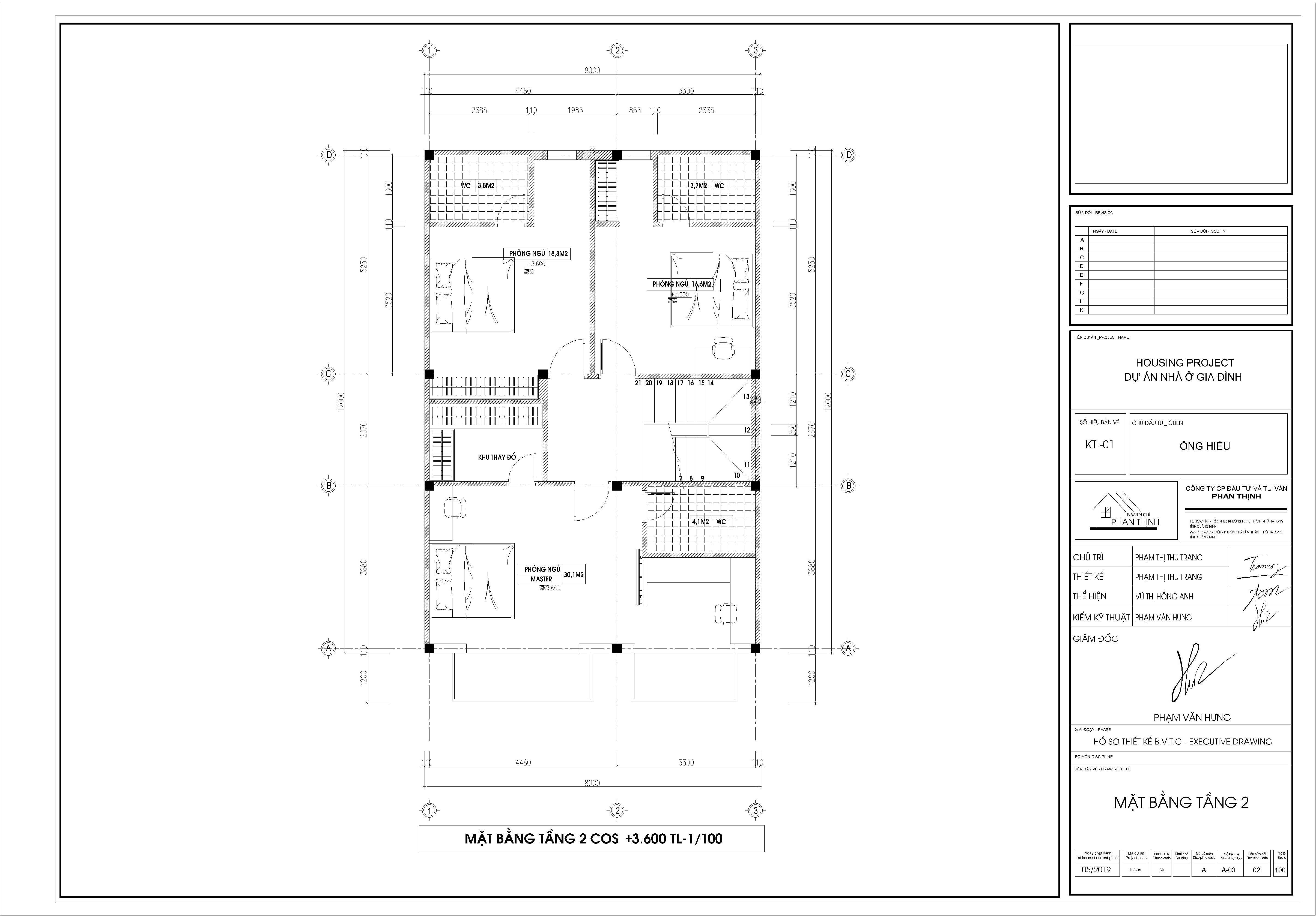 Mặt bằng thiết kế tầng 2 căn biệt thự 2 tầng tân cổ điển Quảng Ninh