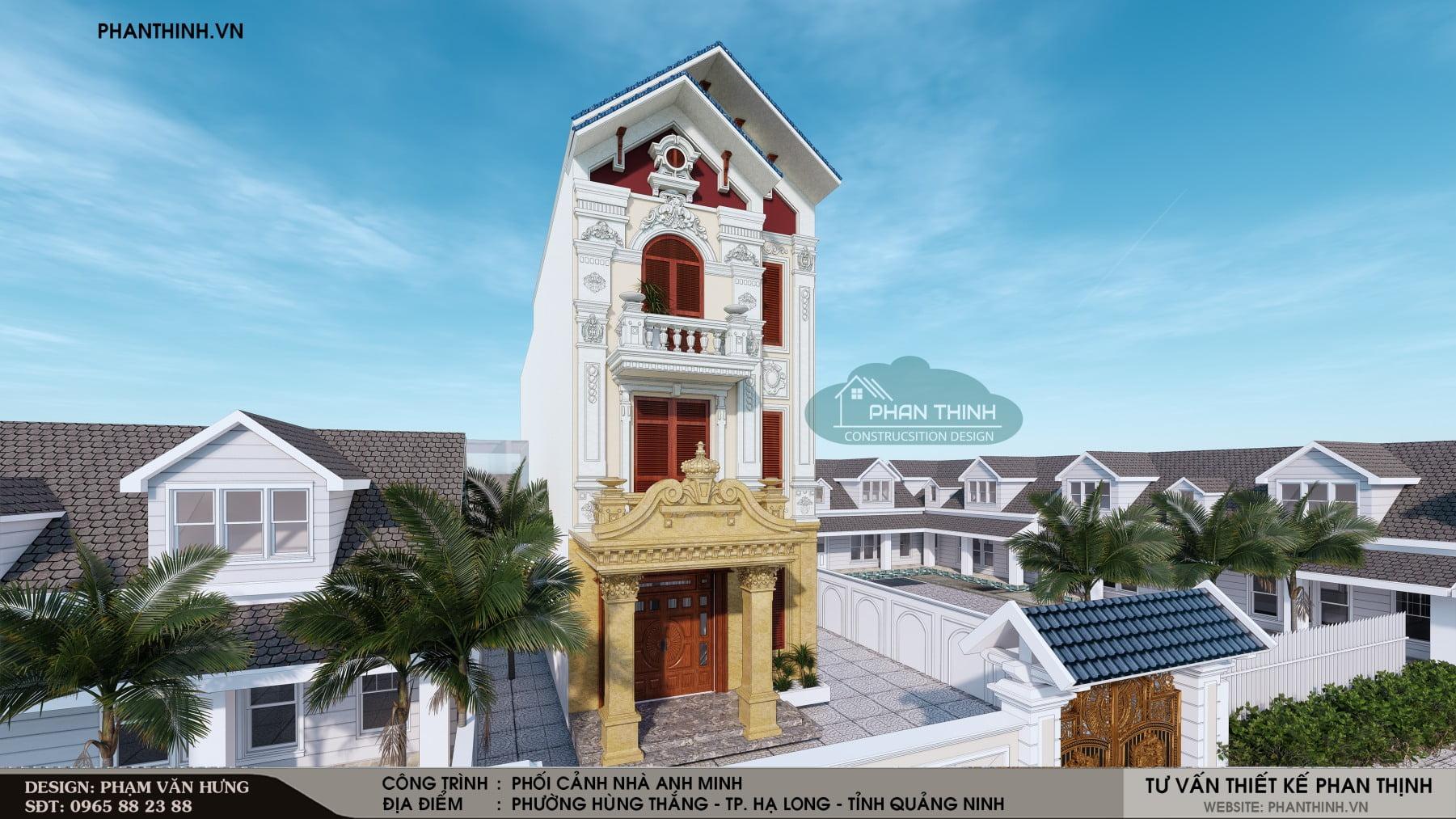 Thiết kế mặt tiền biệt thự 3 tầng kiến trúc cổ điển tại Quảng Ninh