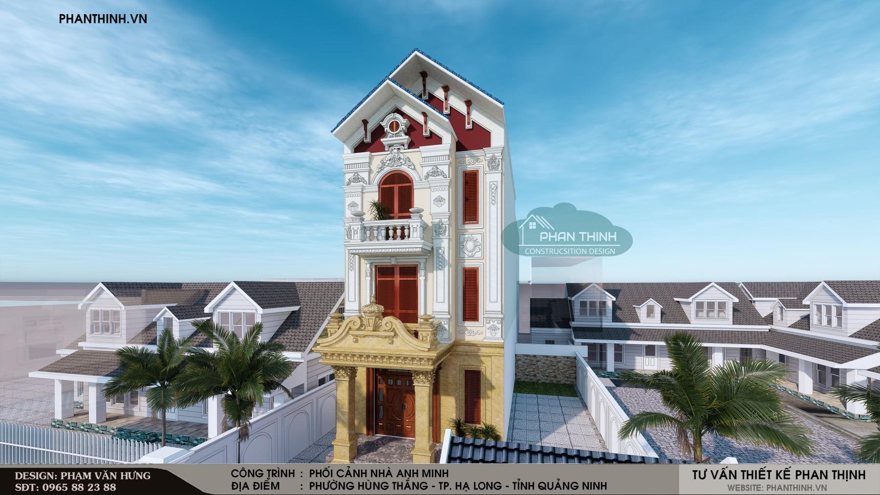 Hình ảnh phối cảnh thiết kế biệt thự cổ điển đẹp mặt tiền 6m tại Quảng Ninh
