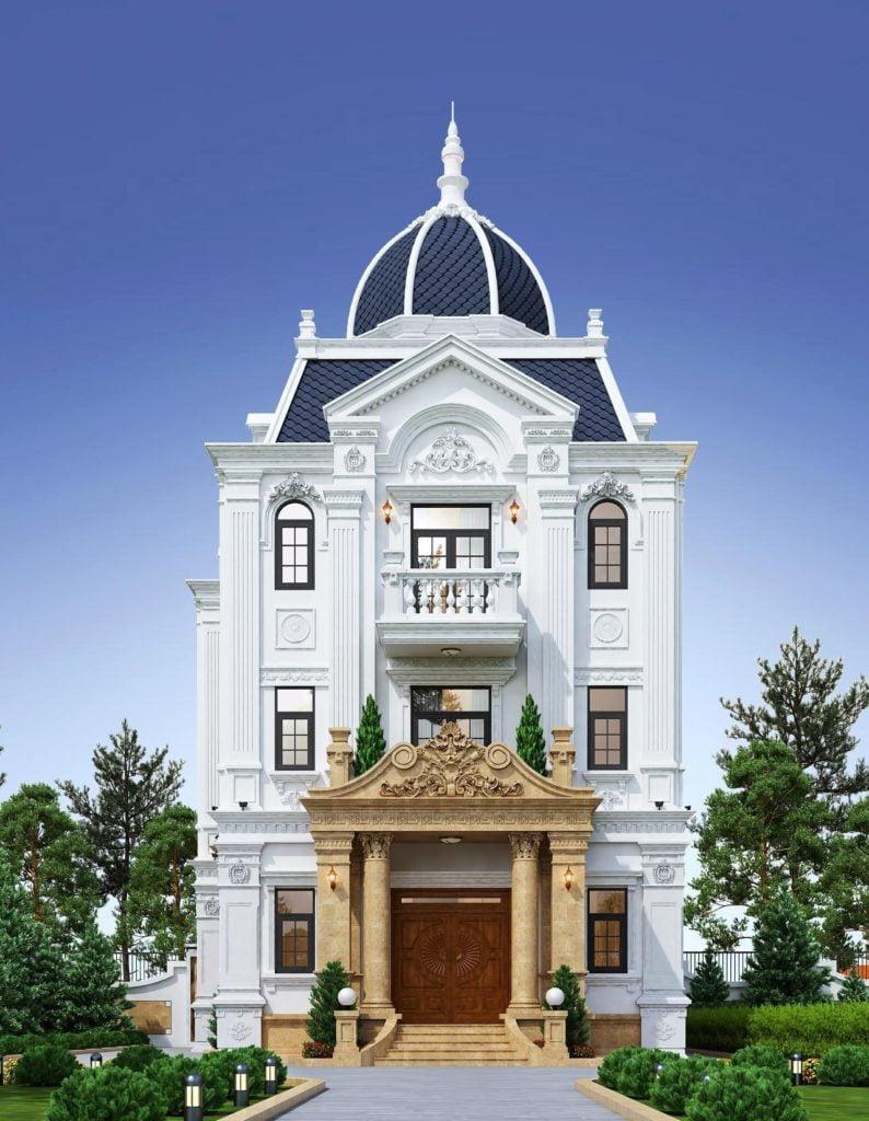 Biệt thự cổ điển với mặt tiền không quá rộng, phong cách châu âu