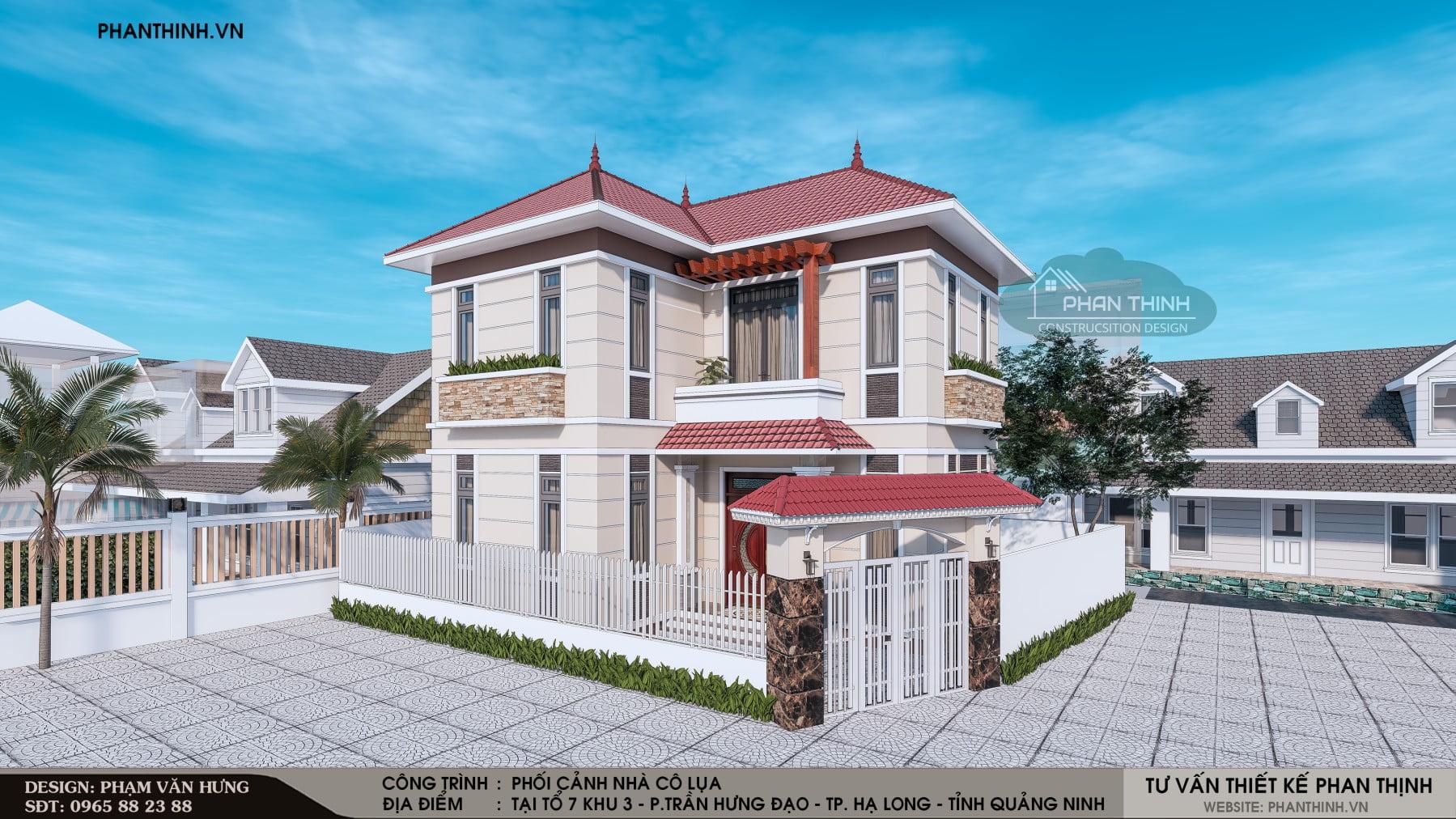 Phương án 03: Thiết kế xây dựng nhà mái thái 2 tầng