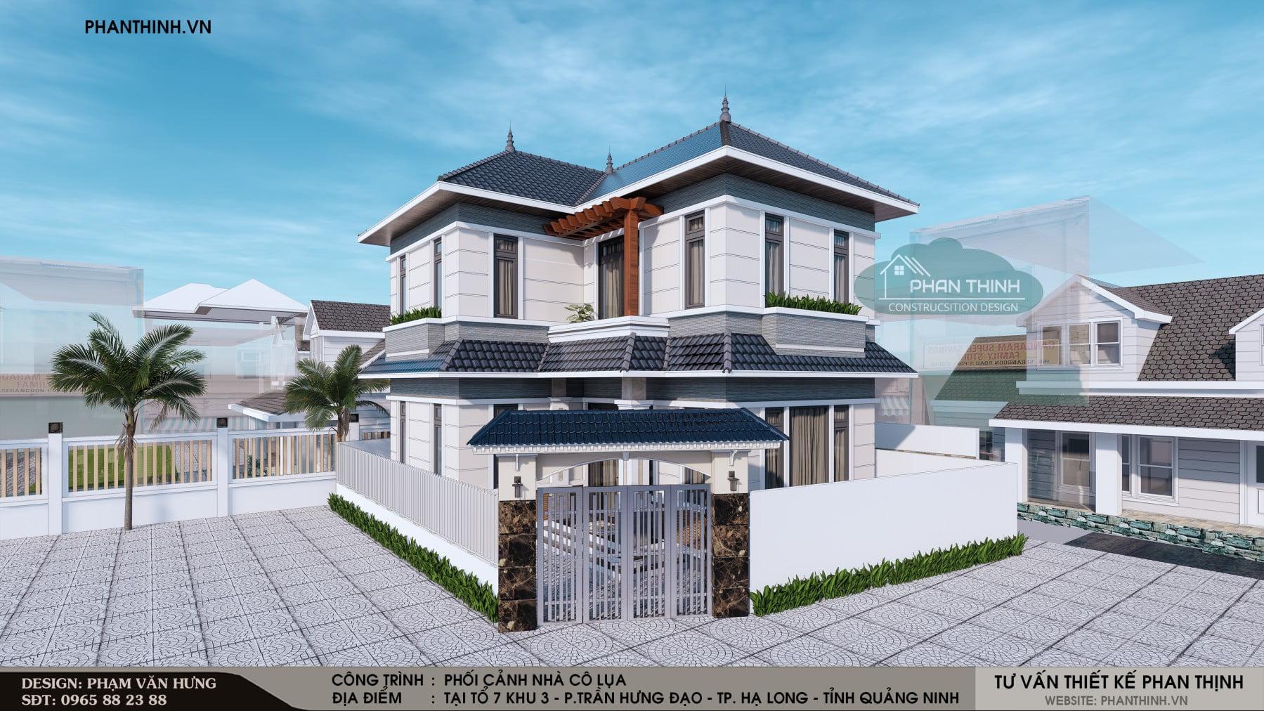 Phương án 01: Thiết kế xây dựng nhà mái thái 2 tầng tại Quảng Ninh