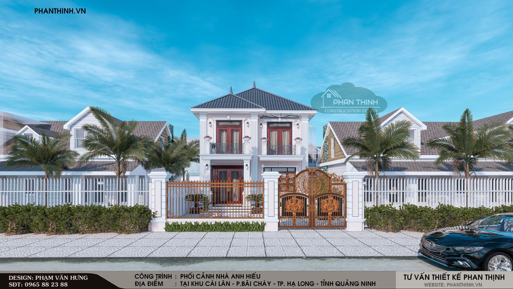 Mẫu thiết kế nhà mái thái 2 tầng phong cách tân cổ điển tại Quảng Ninh