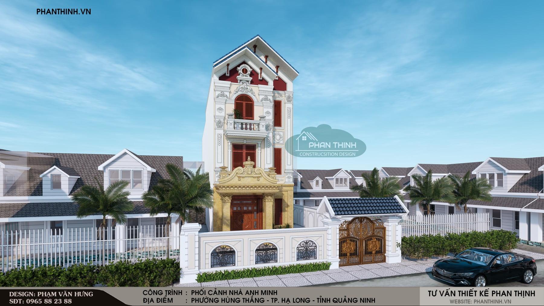 Phương án thiết kế phối cảnh nhà 3 tầng kiến trúc cổ điển đẹp tại Quảng Ninh