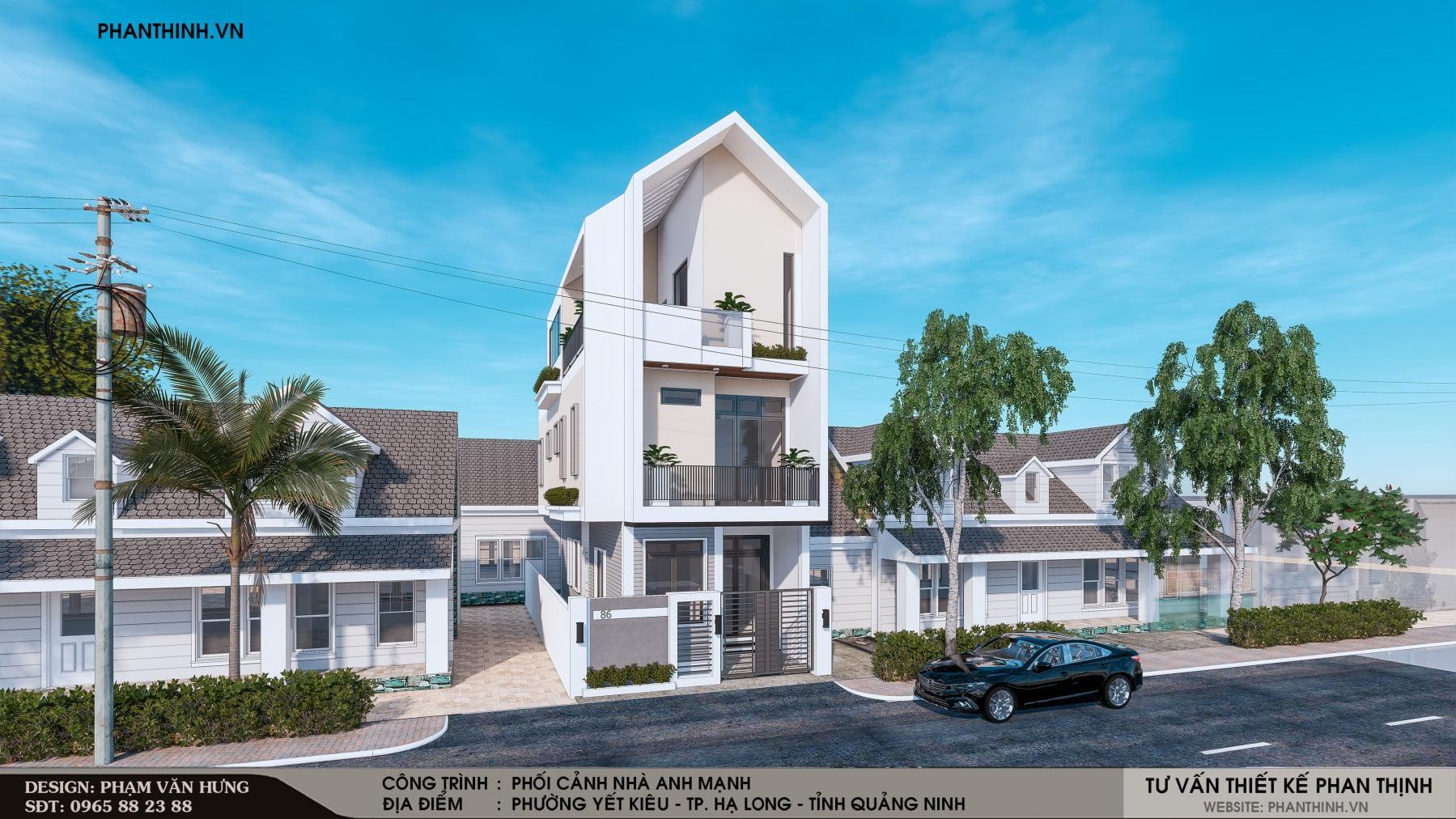 Thiết kế phối cảnh nhà phố 3 tầng 2 mặt tiền tại Quảng Ninh