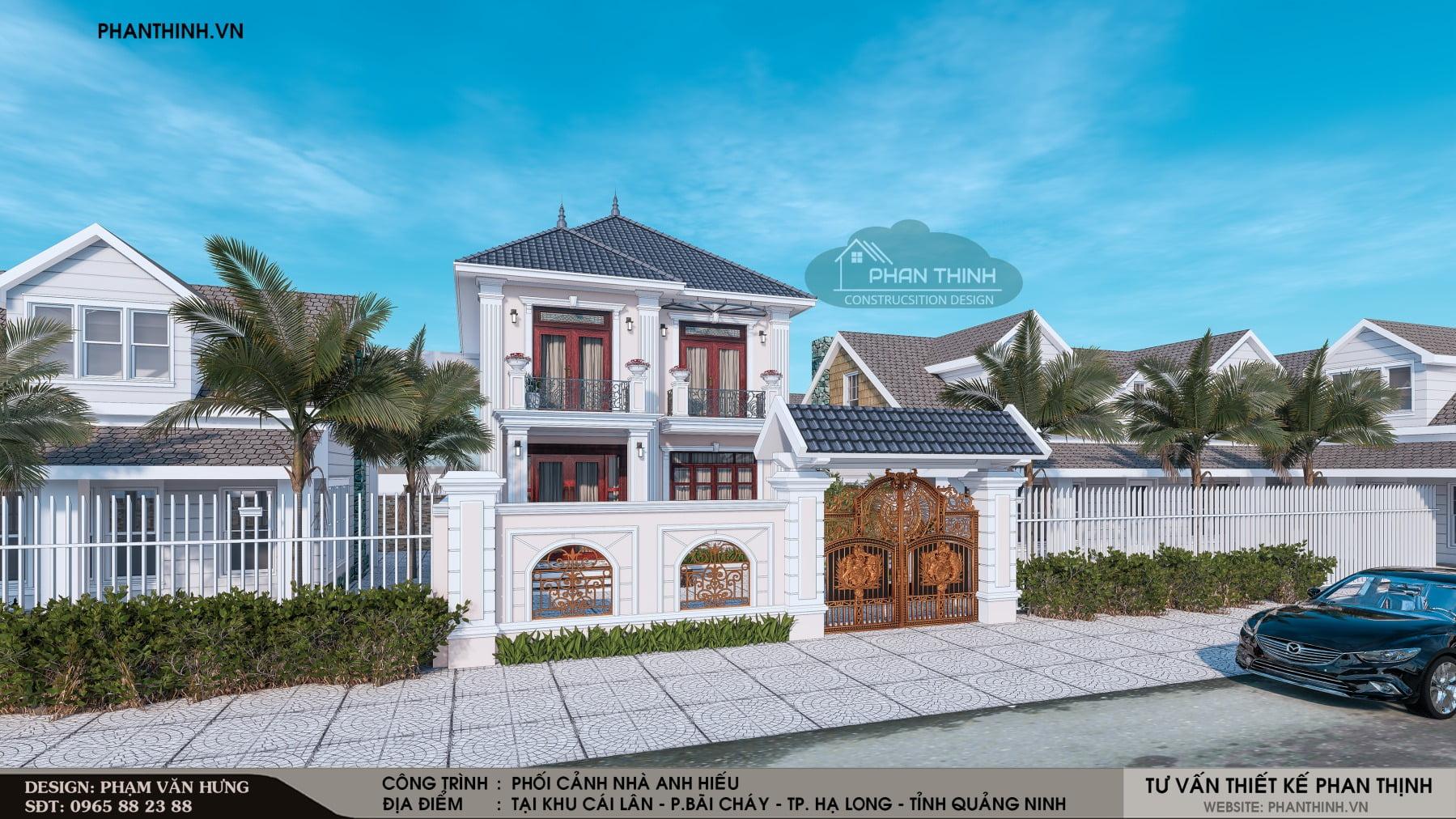 Hình ảnh thiết kế mặt tiền nhà biệt thự 2 tầng tân cổ điển tại Bãi Cháy - Quảng Ninh