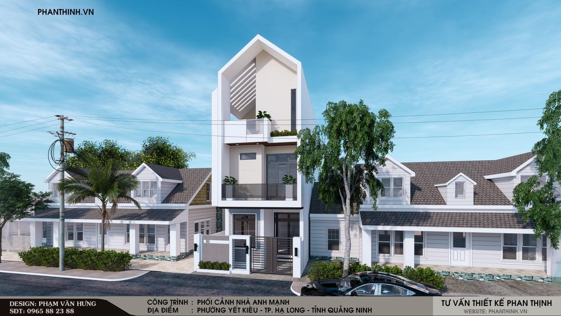 Thiết kế xây dựng nhà phố 3 tầng phong cách hiện đại tại Quảng Ninh