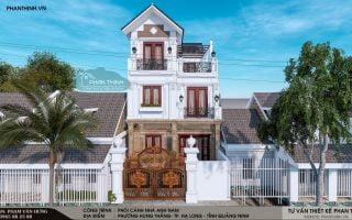 Thiết kế biệt thự cổ điển tại Quảng Ninh , biệt thự 3 tầng đẹp