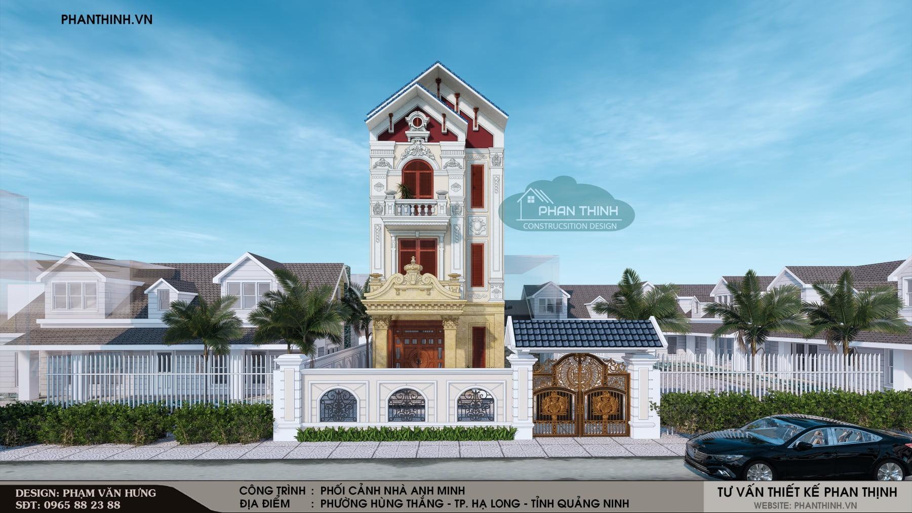 Phương án thiết kế cổng tường rào biệt thự cổ điển tại Quảng Ninh