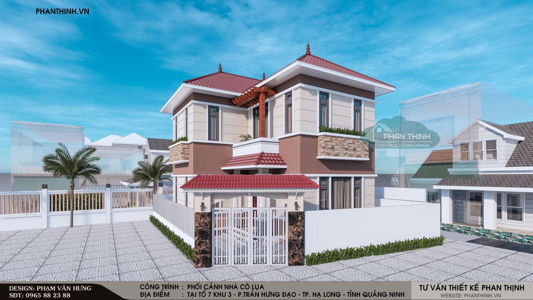 Phương án phối cảnh số 02: Mẫu nhà biệt thự 2 tầng đẹp tại Quảng Ninh