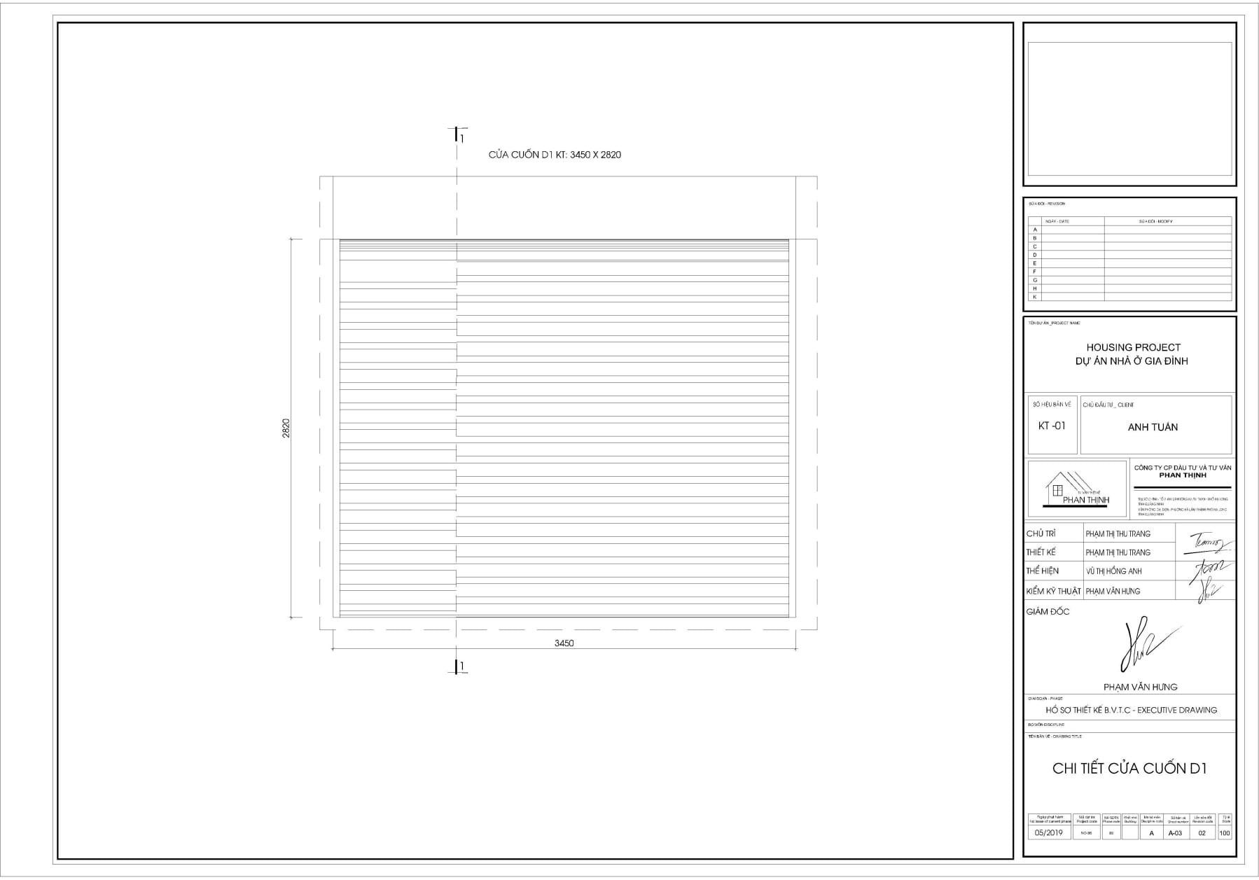 Bản vẽ thiết kế cửa cuốn