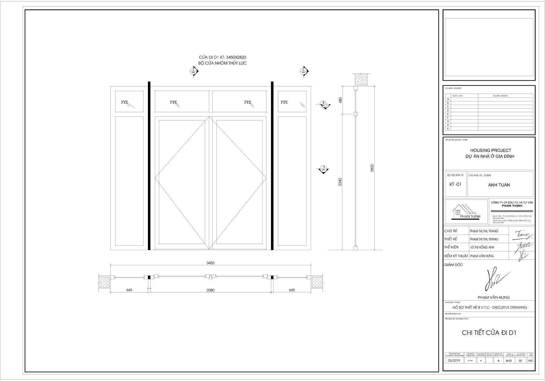 Bản vẽ thiết kế cửa nhôm thủy lực xing fa