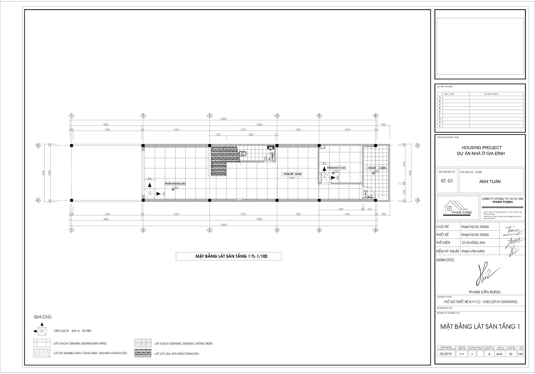 Bản vẽ thiết kế mặt bằng lát sàn tầng 1.