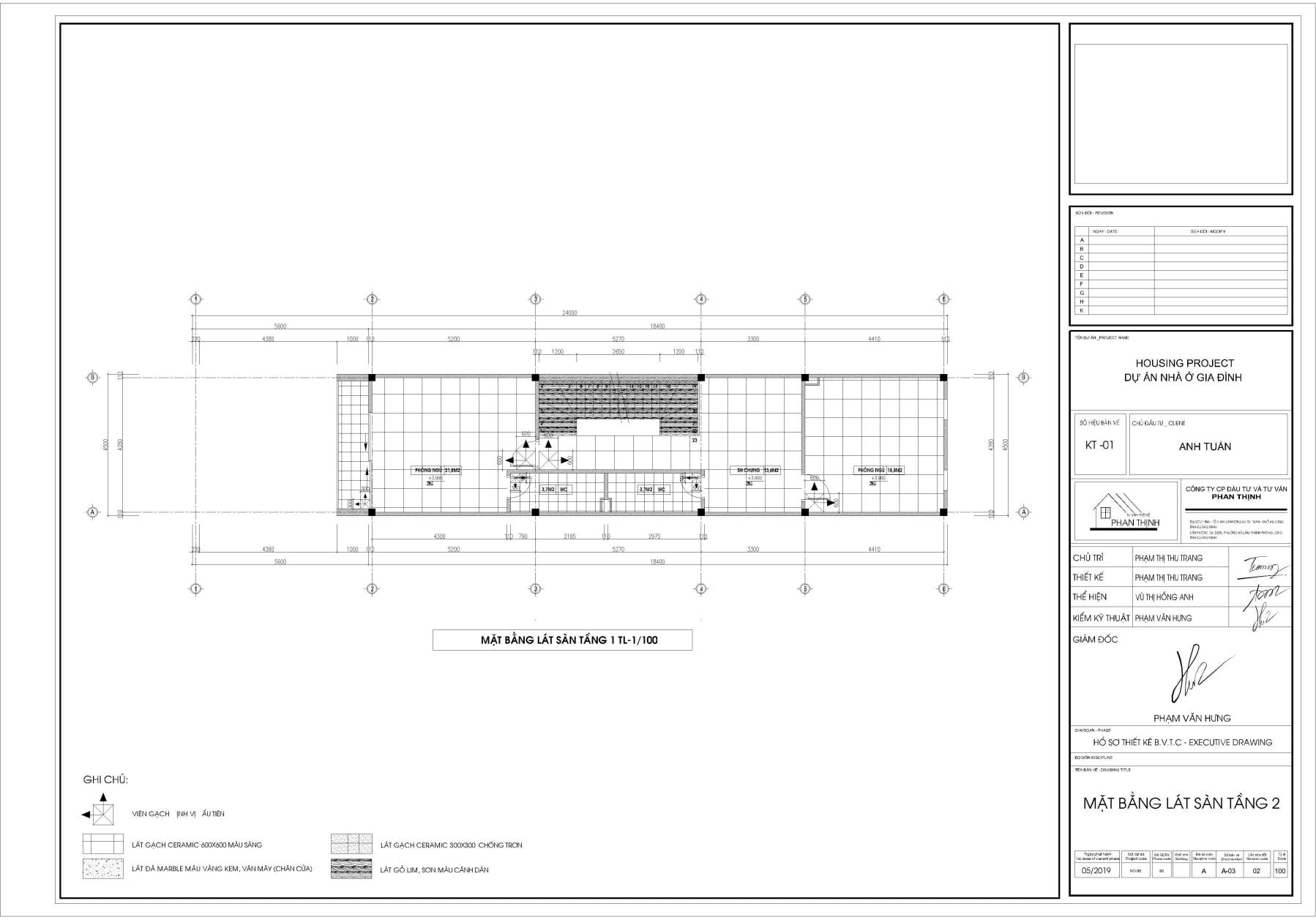 Bản vẽ thiết kế mặt bằng lát sàn tầng 2